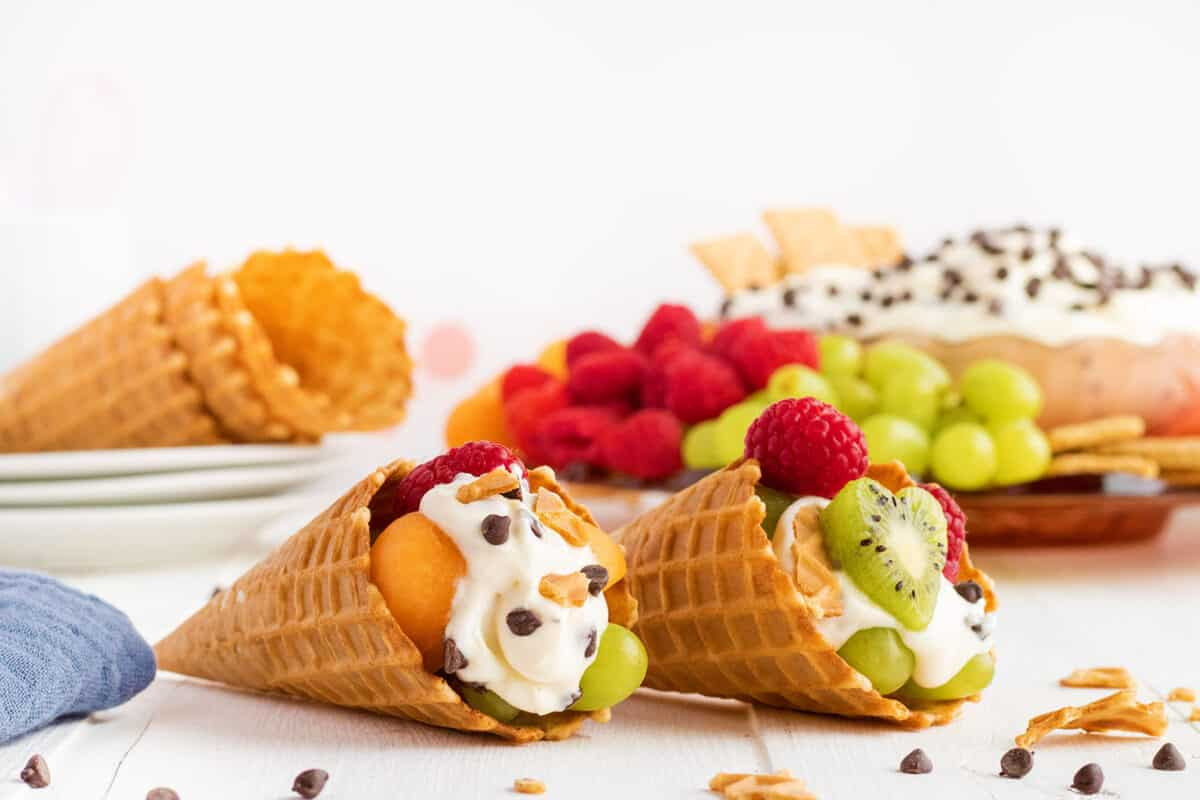 cannoli dip in waffles cones with fruit