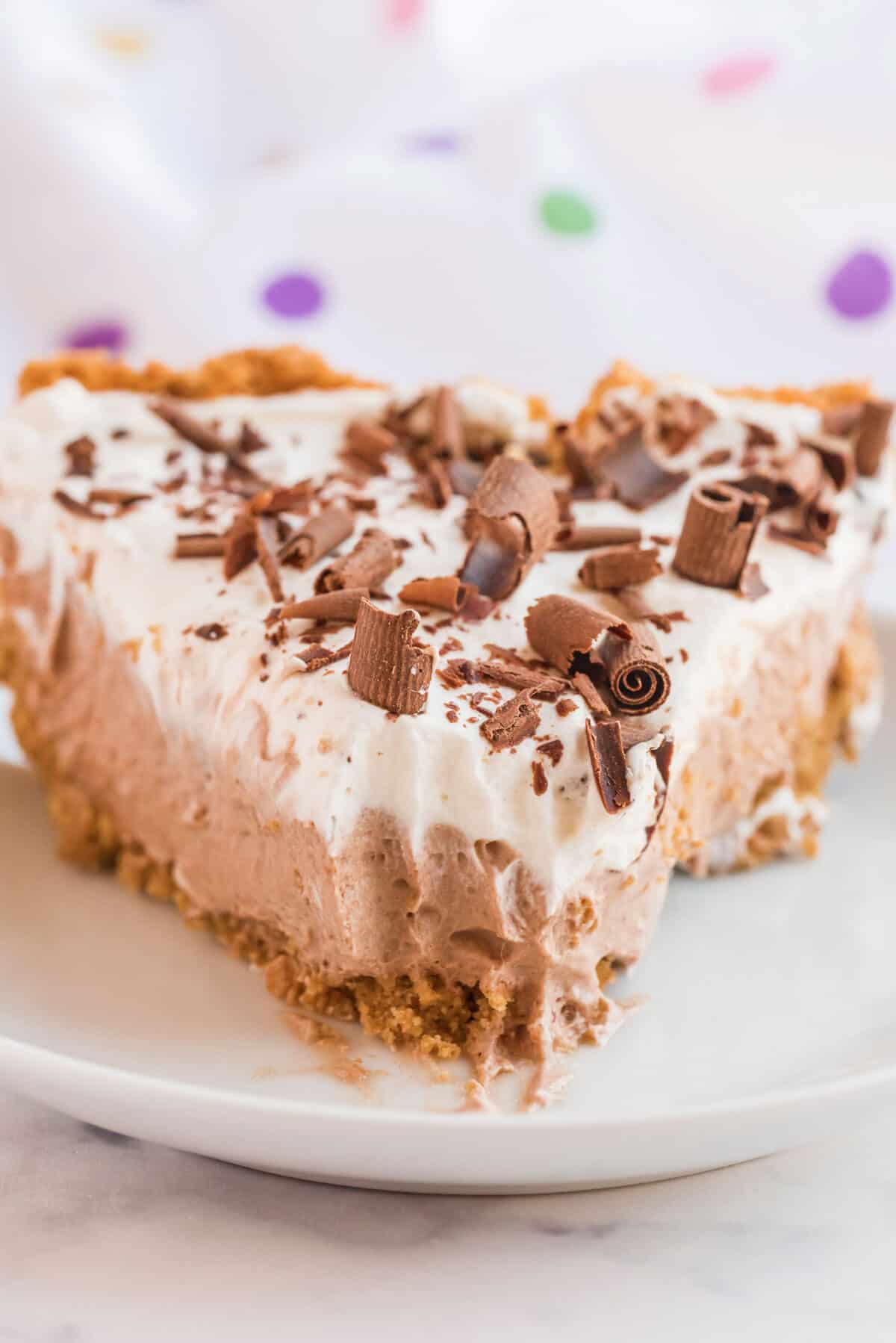 chocolate mousse pie with a forkful taken out of the slice