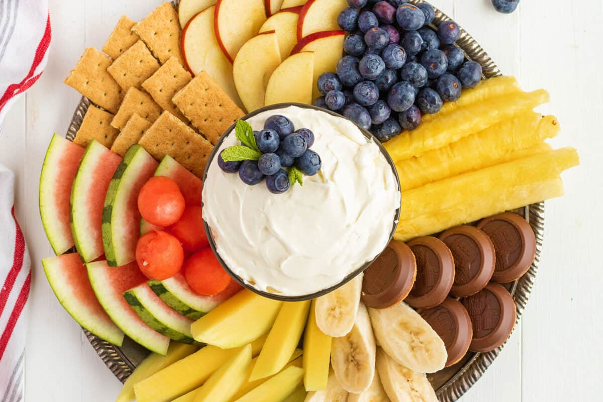 Cream Cheese fruit Dip with cookies and fruit