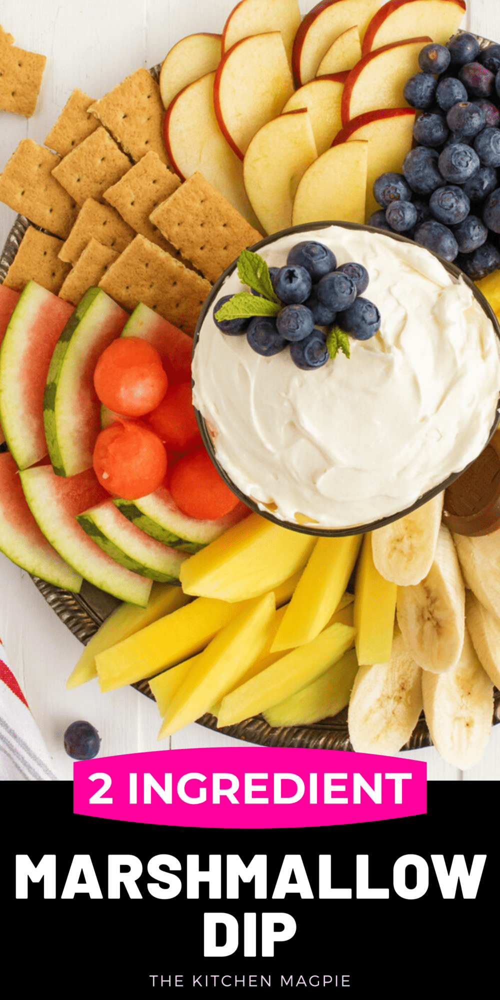 Classic cream cheese and marshmallow fruit dip that is only two ingredients! Serve with fruit and sweet crackers, Perfect for picnics, potlucks, parties and more!