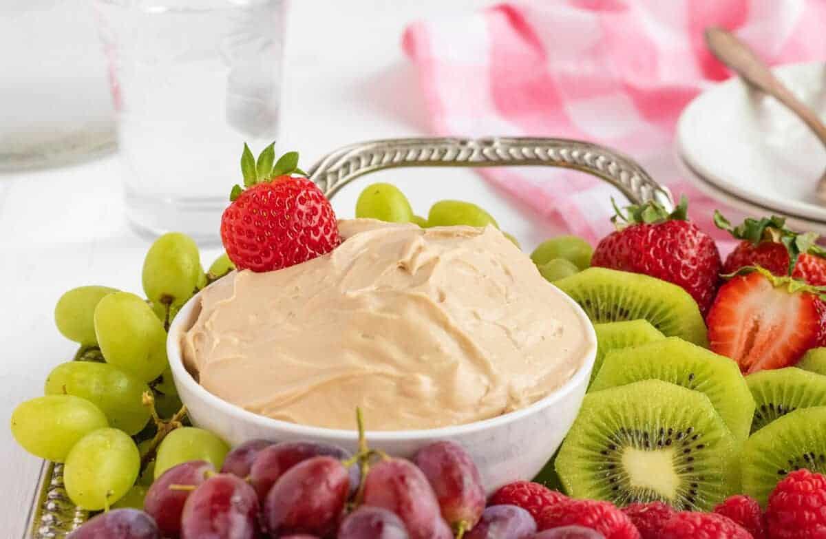 fruit dip on a platter