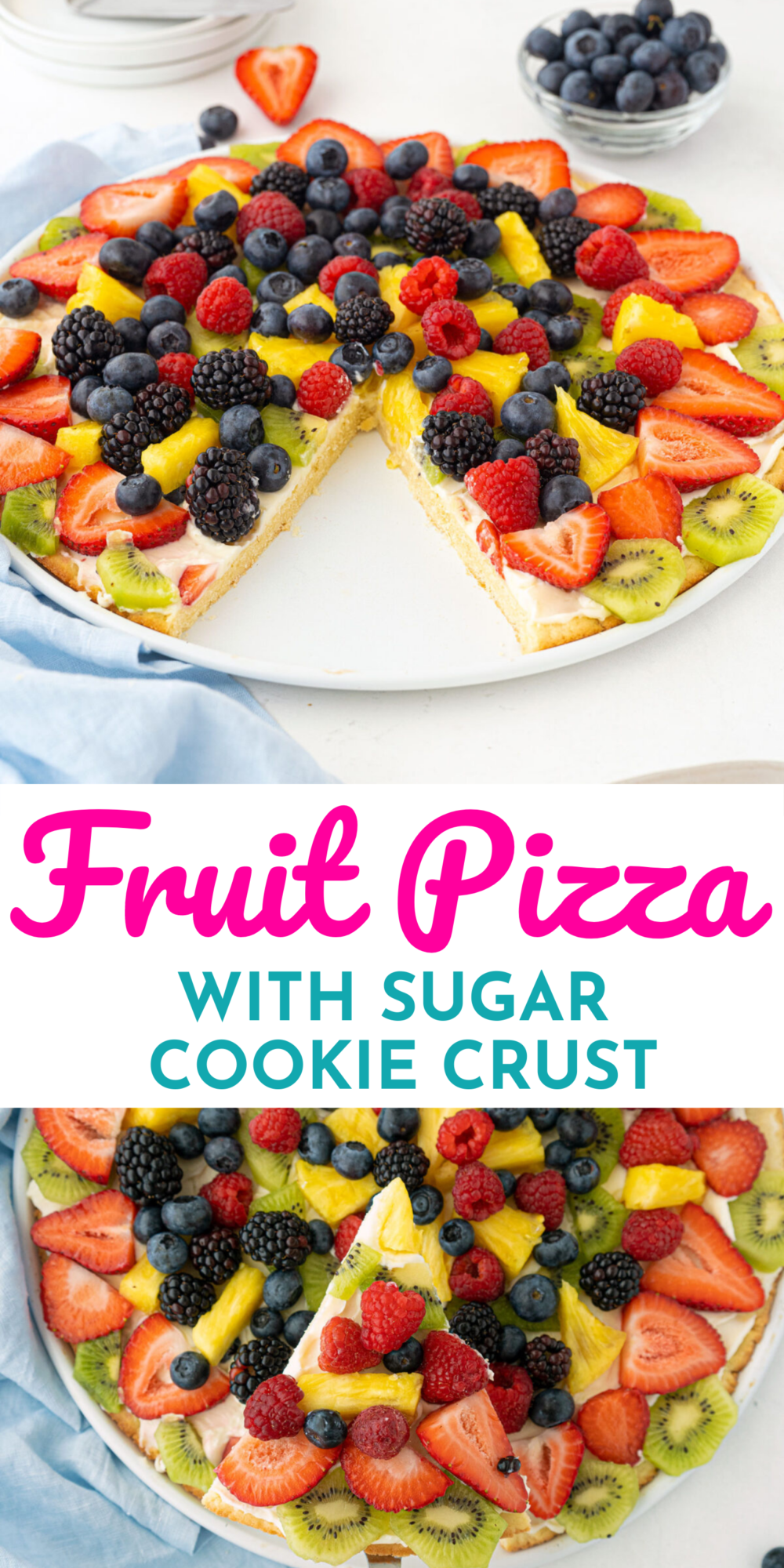 Fruit pizza is an amazing dessert pizza that has a shortbread crust, a cream cheese layer, then layers of delicious fresh fruit!