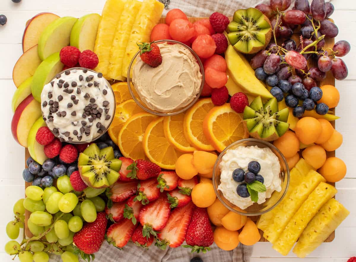 Fruit platter with fruit and dips