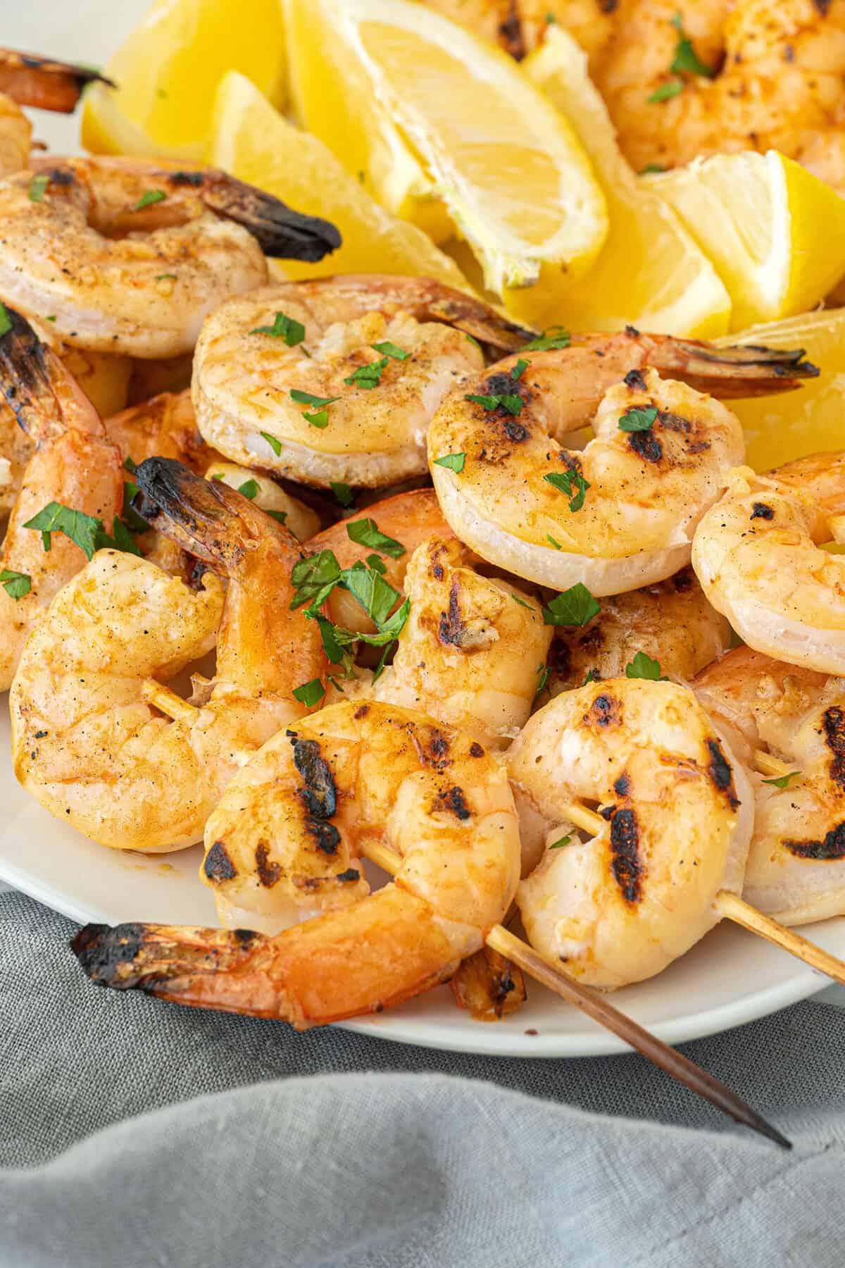 close up of garlic grilled shrimp