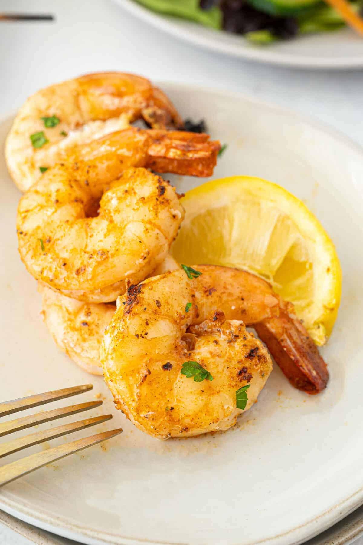 close up of Old Bay grilled shrimp