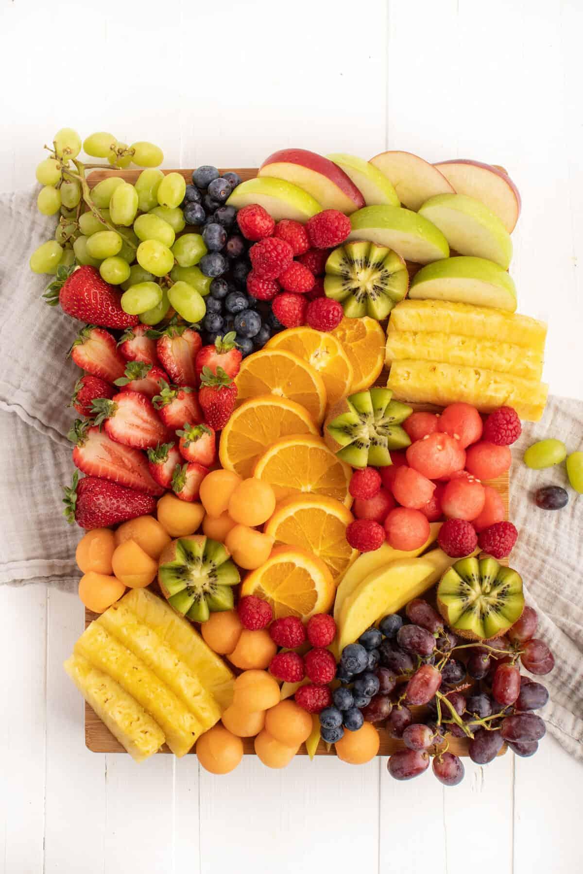 fruit platter on a white board