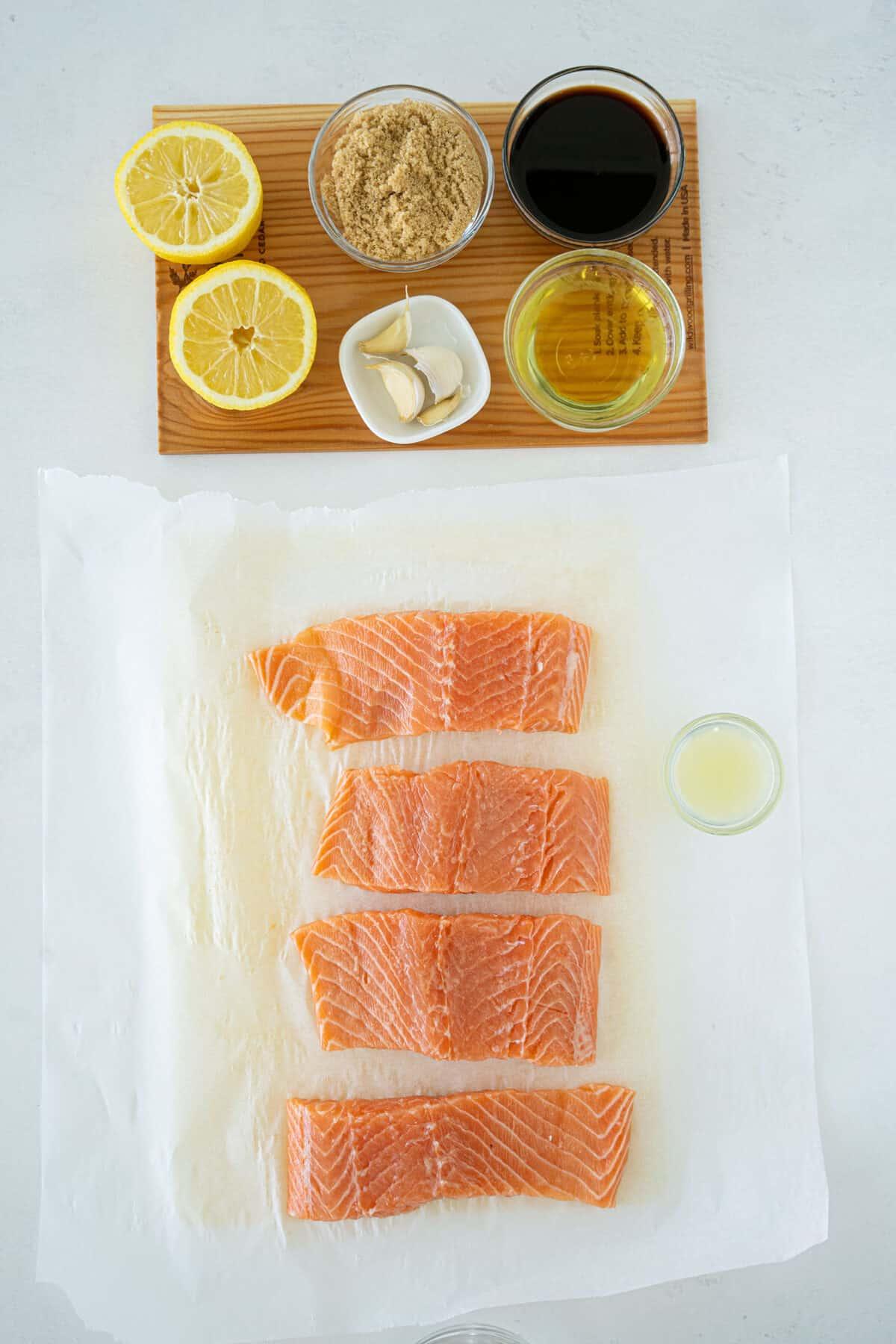 ingredients for cedar plank salmon