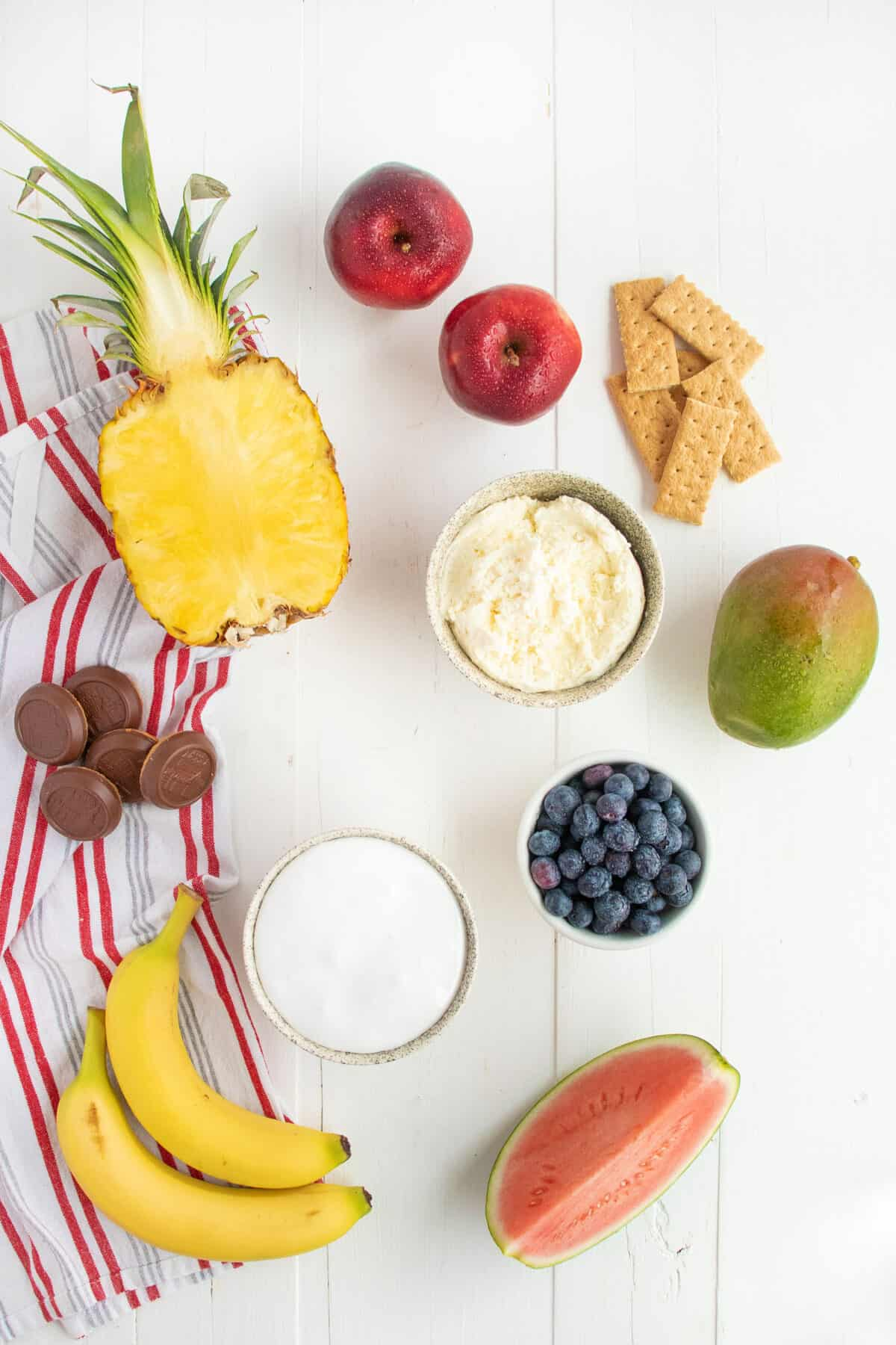 ingredients for cream cheese dip and fruit
