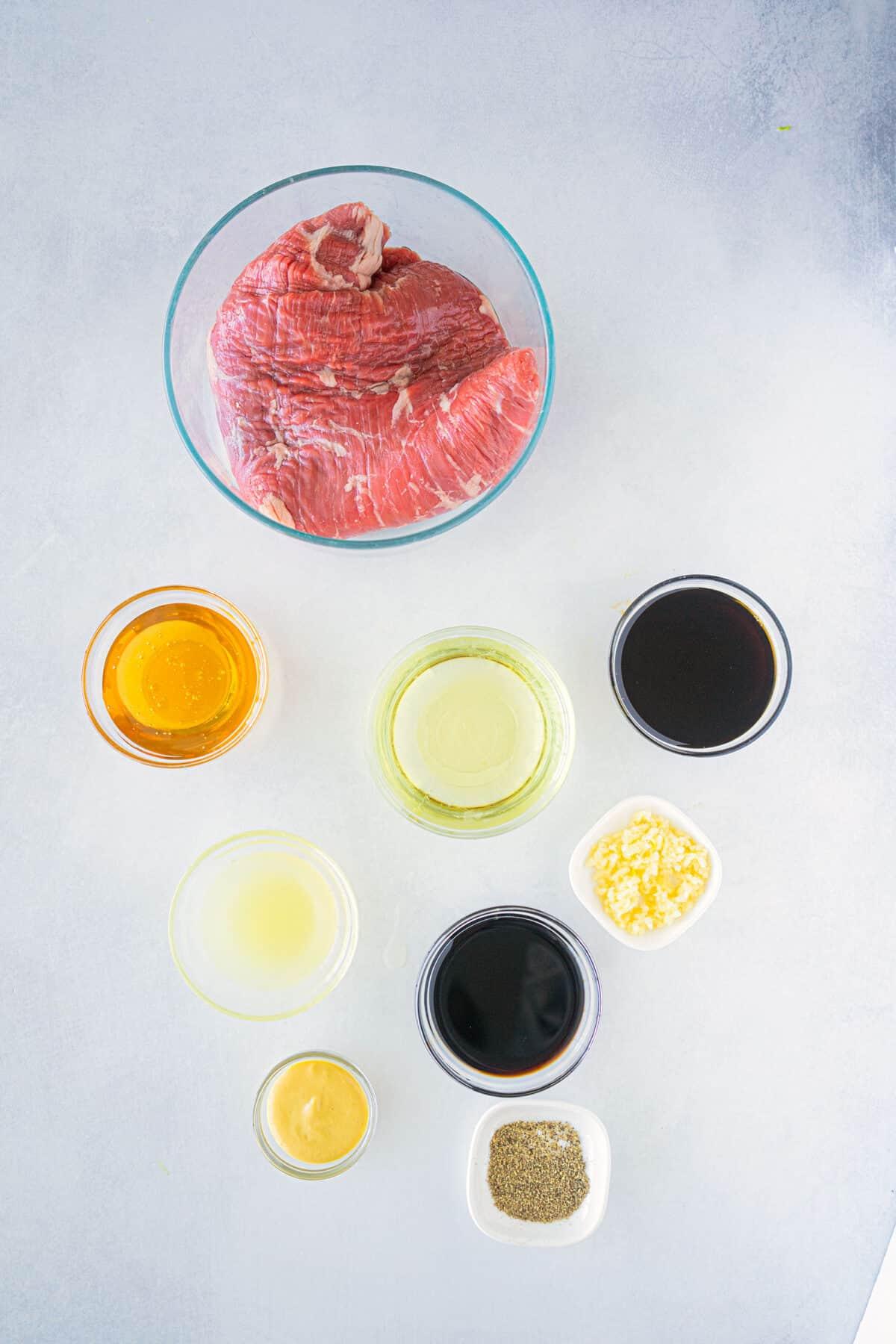 ingredients for flank steak marinade