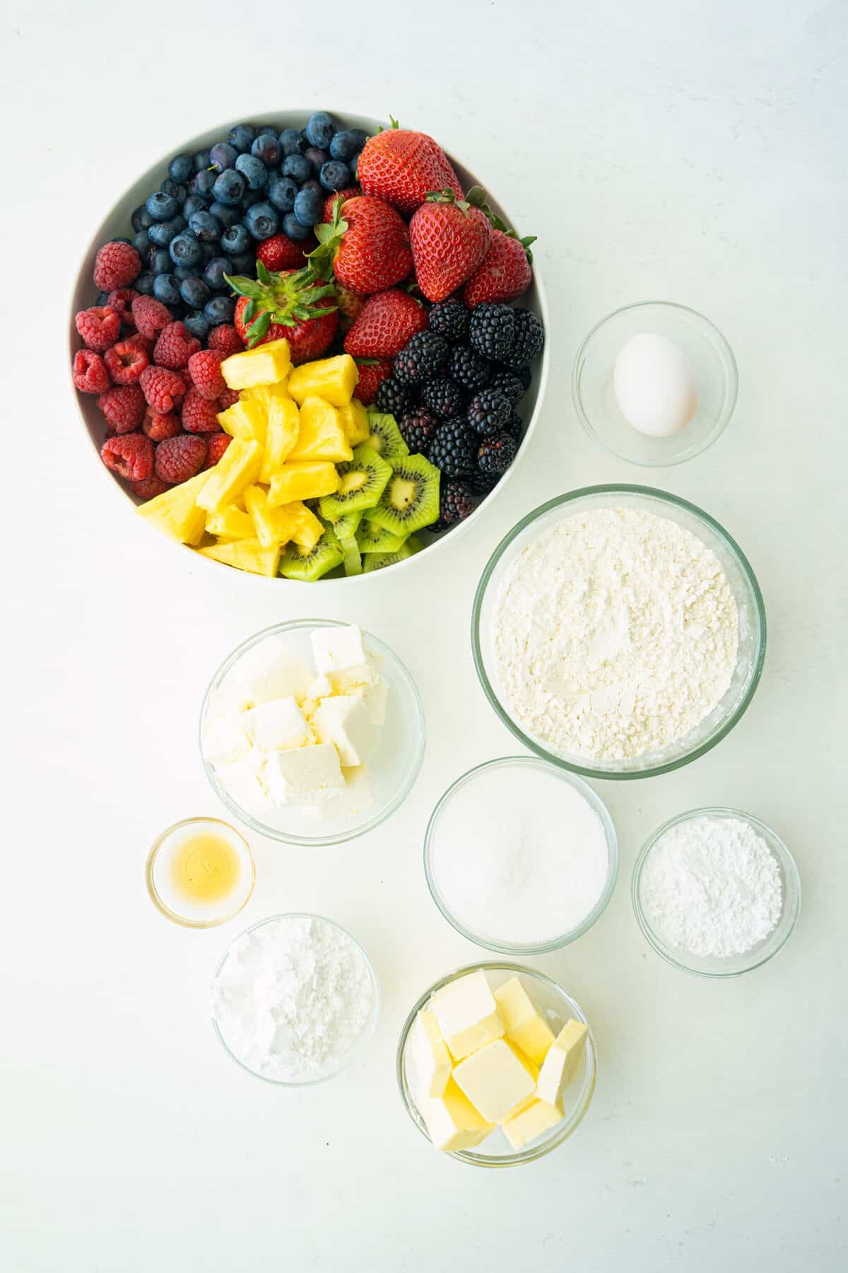 ingredients for a fruit pizza