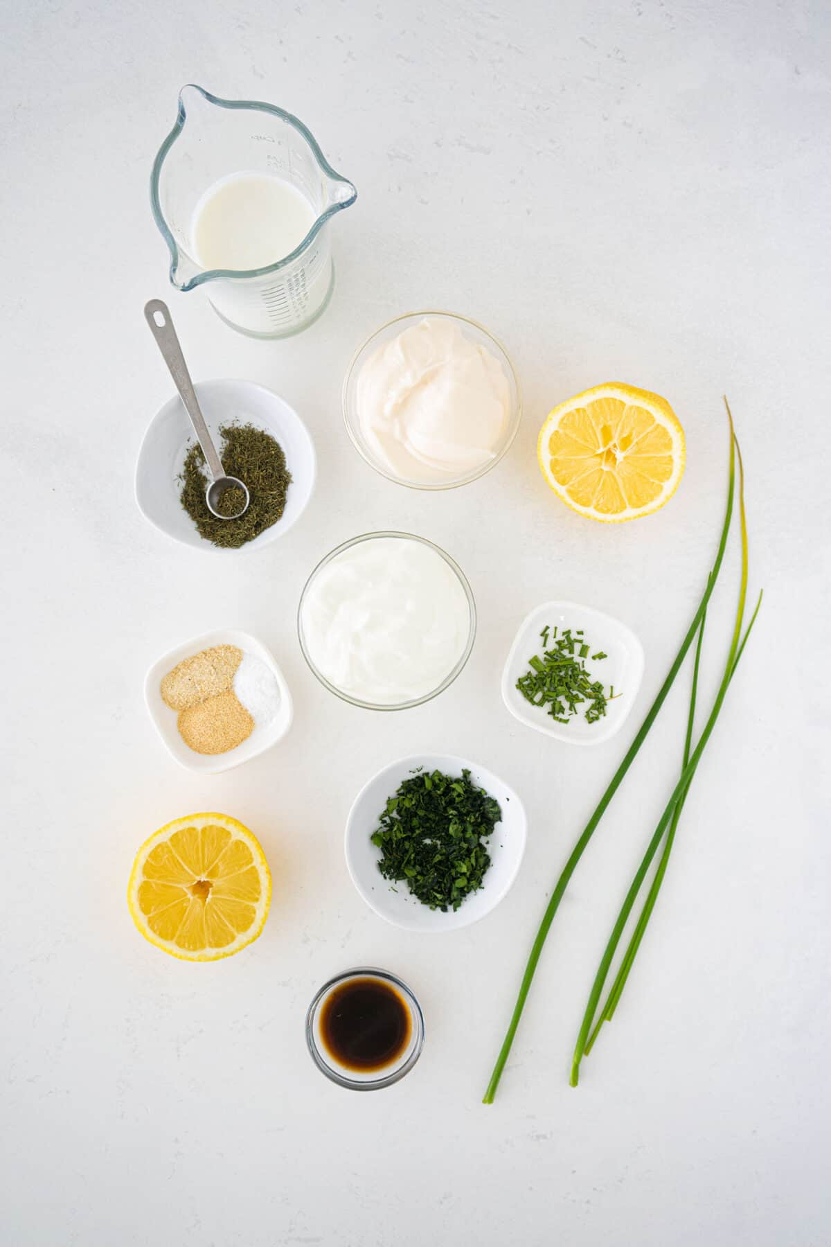 ingredients for homemade ranch dressing