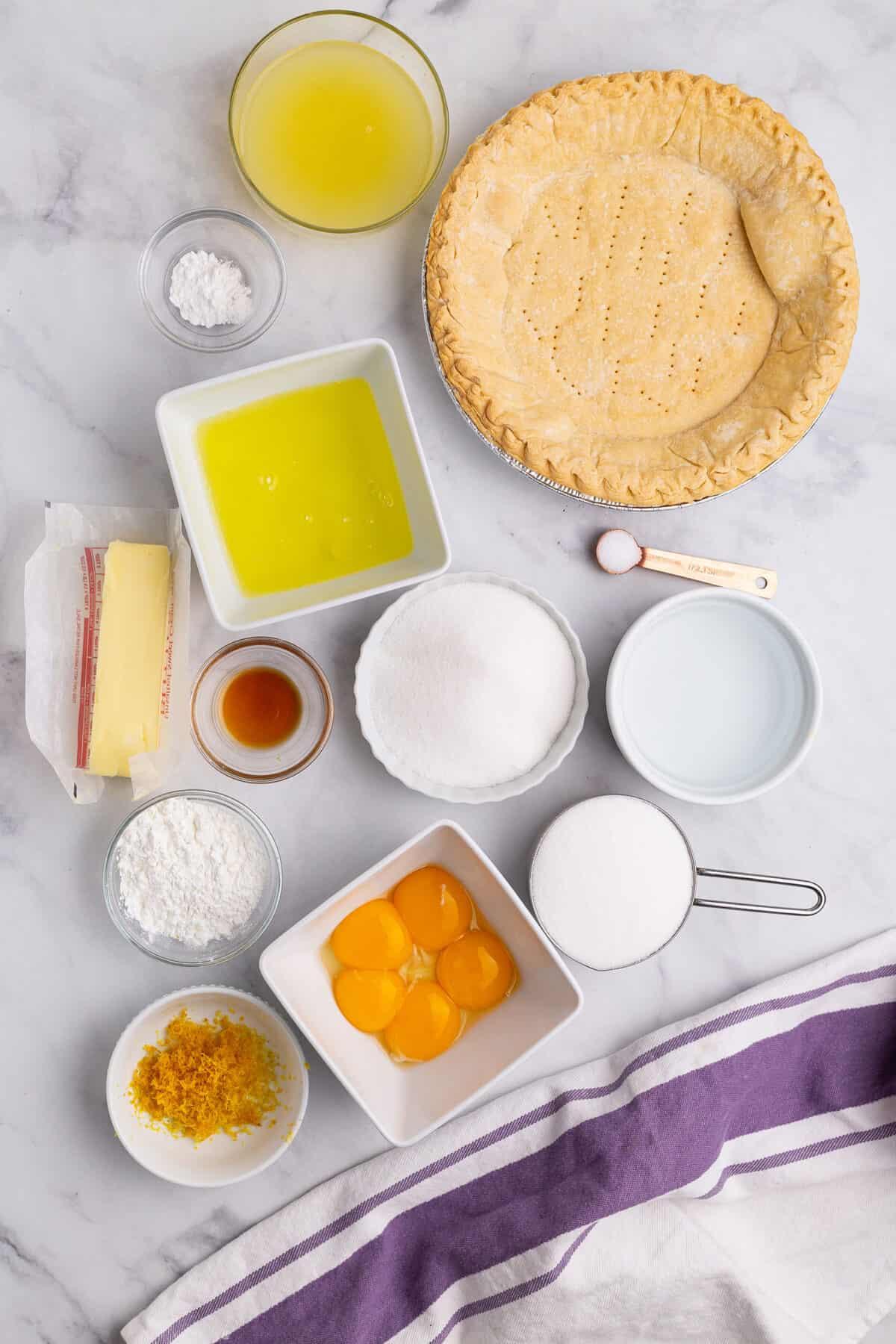 ingredients for lemon meringue pie