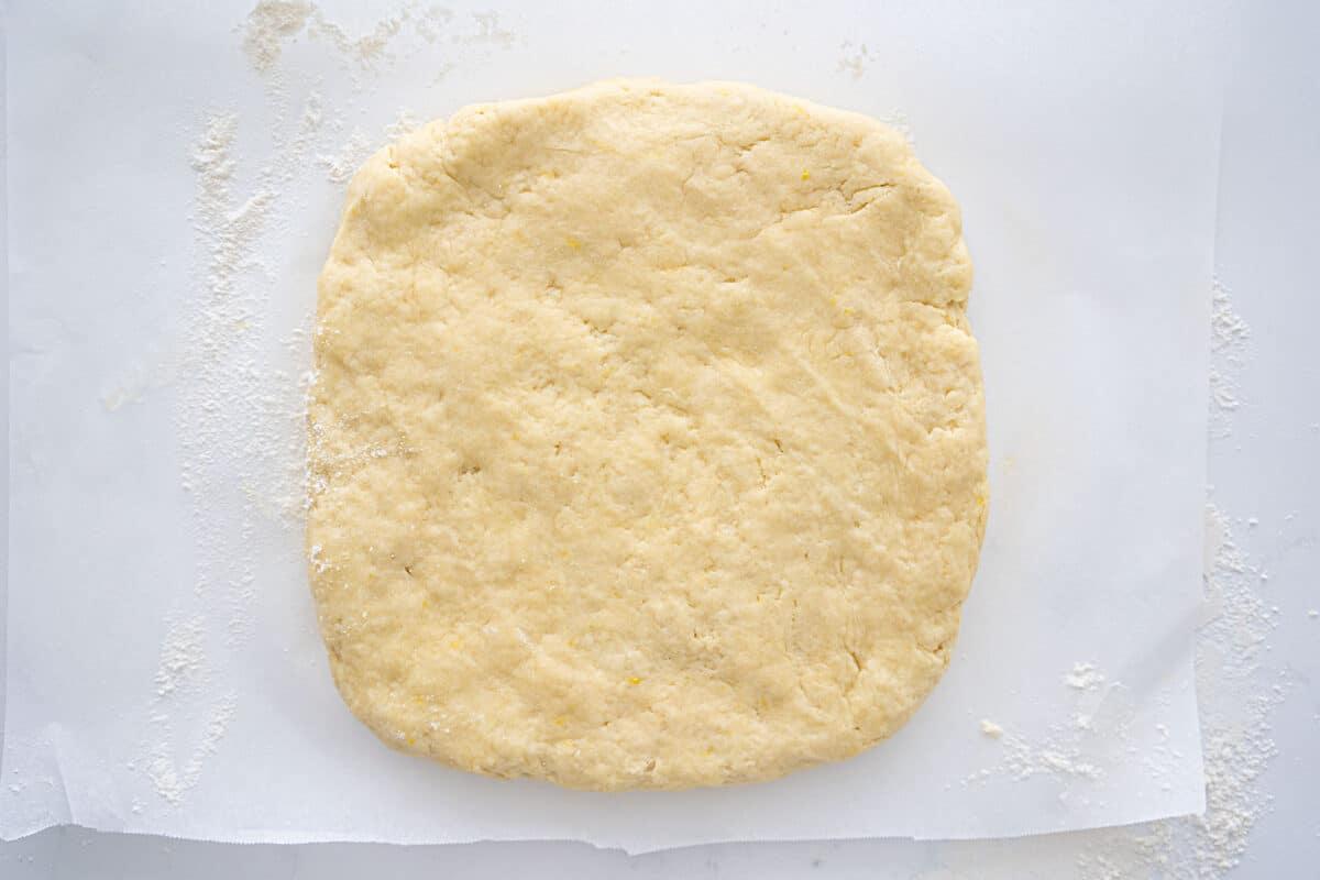lemon scone dough rolled into a square