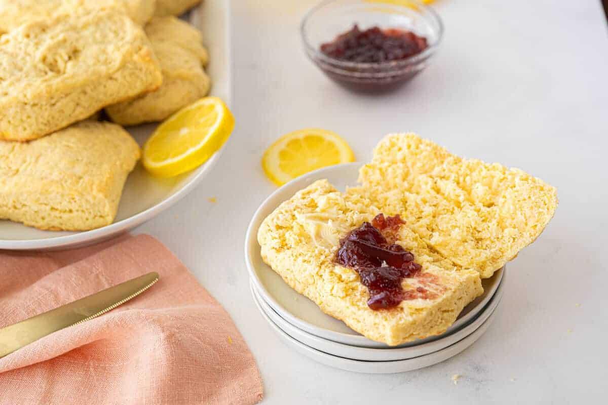 Lemon scones on a white plate