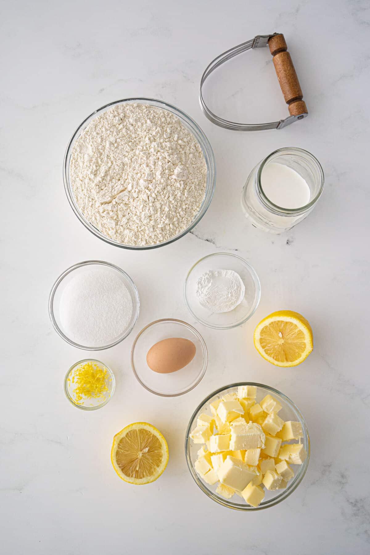 ingredients for lemon scones