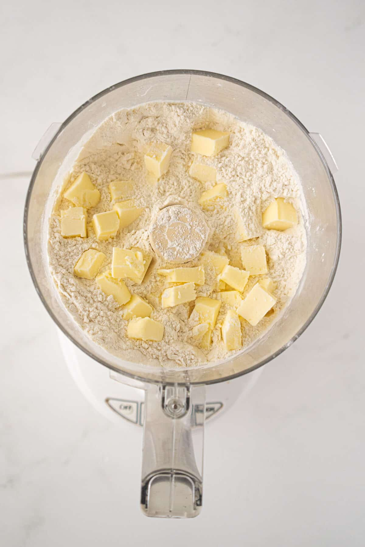 flour and butter in a food processor