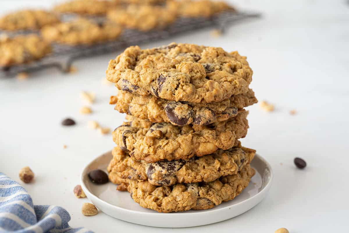 Peanut Butter Oatmeal Cookies on a white plate