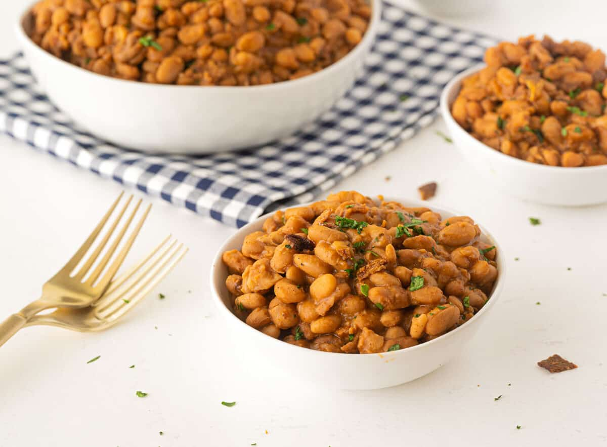 Ranch style beans in a white bowl