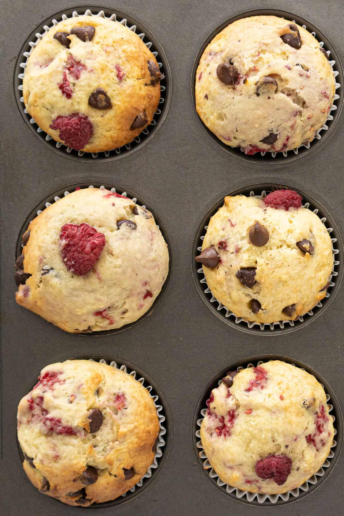 Top down shot of cooked raspberry muffins, chocolate chips poking out.