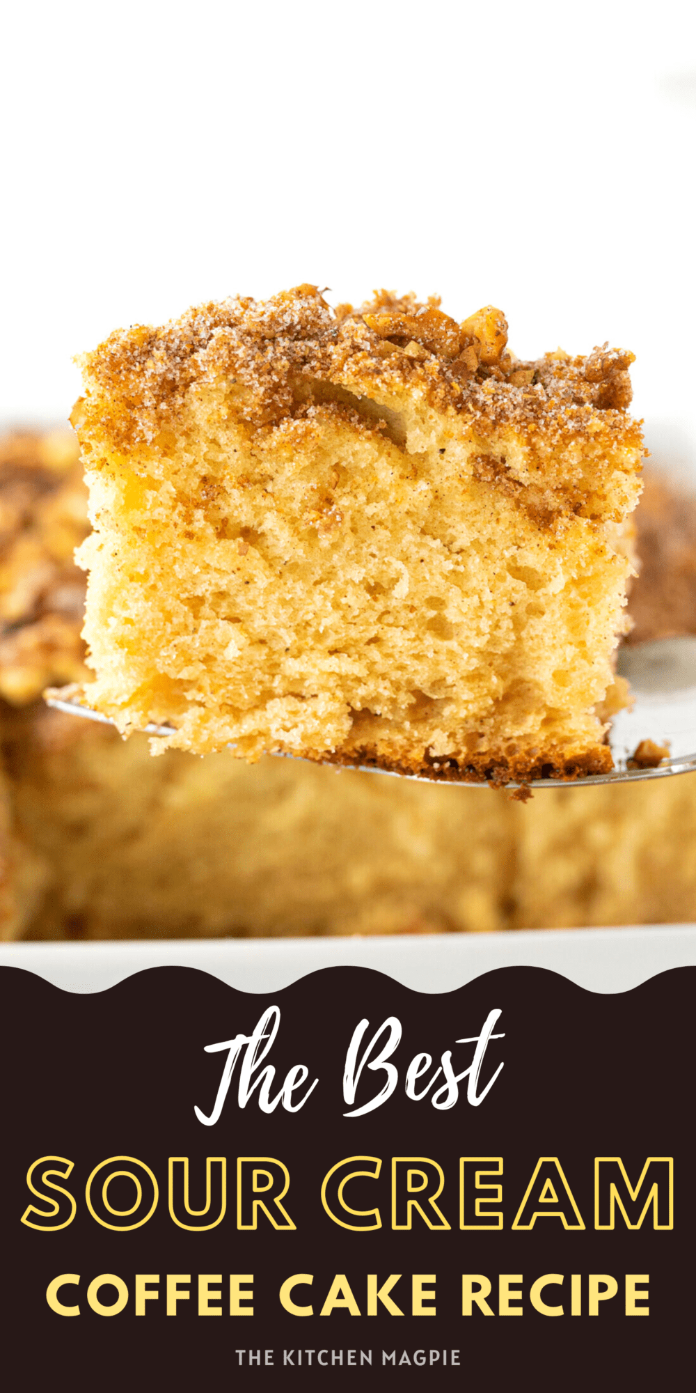 This sour cream coffee cake is a dense, tangy coffee cake topped with a decadent crunchy brown sugar and walnut topping.