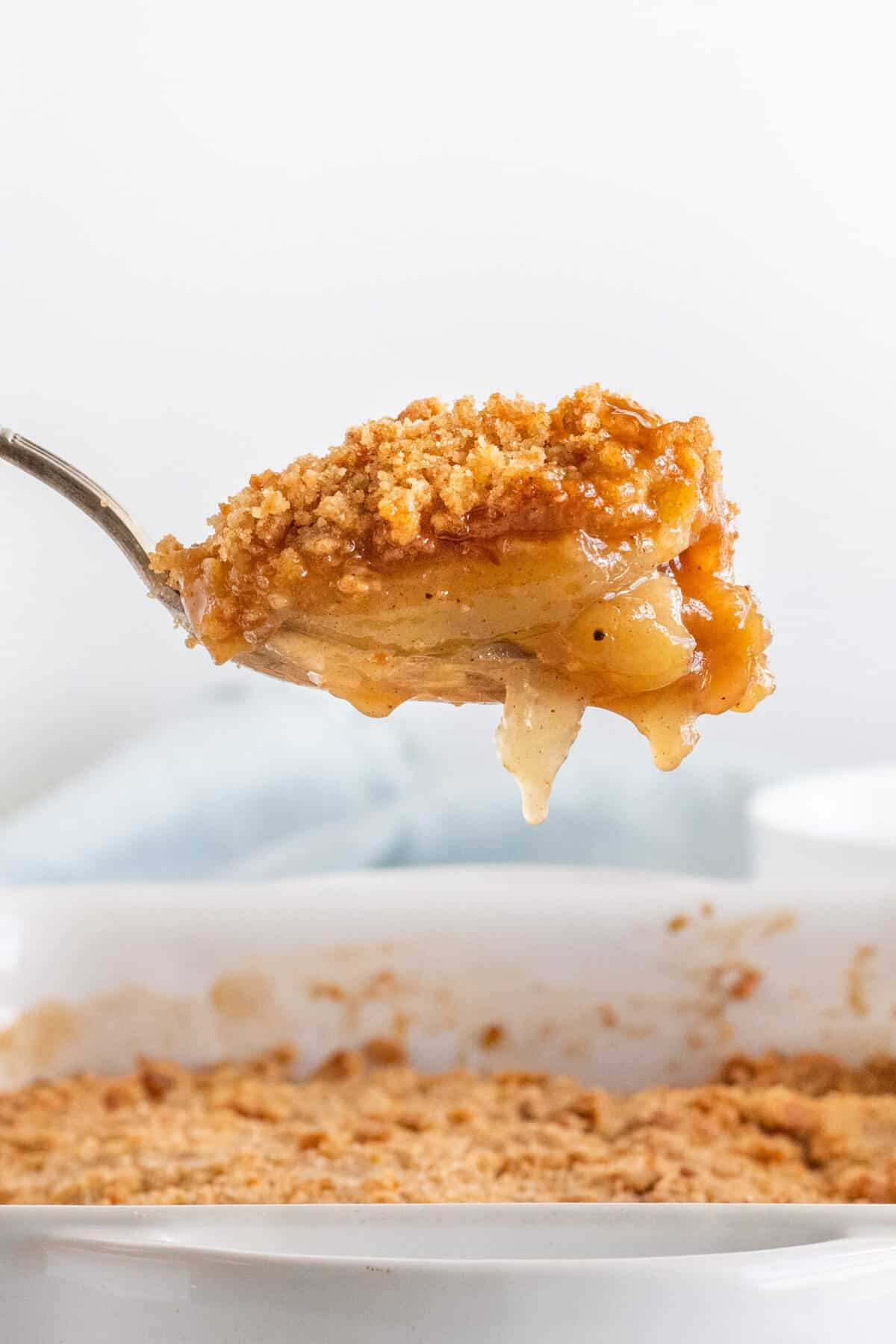 apple brown betty on a spoon