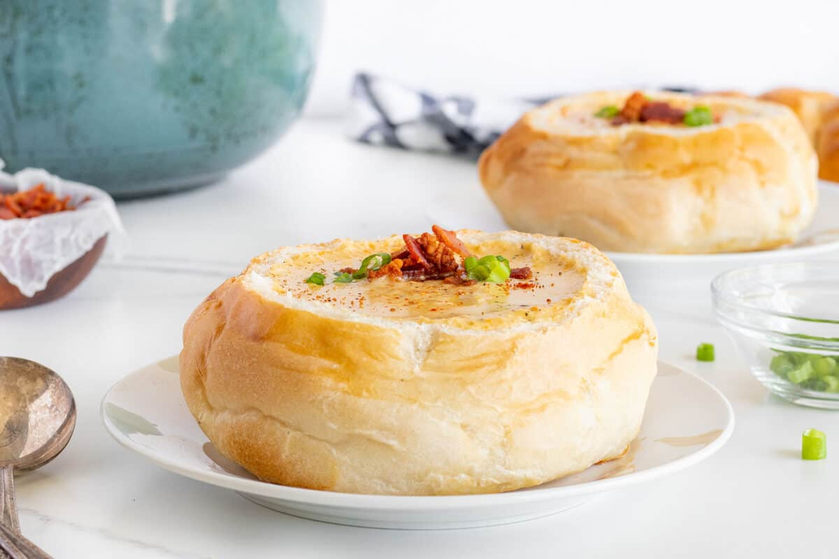 Beer Cheese Soup in a bread bowl