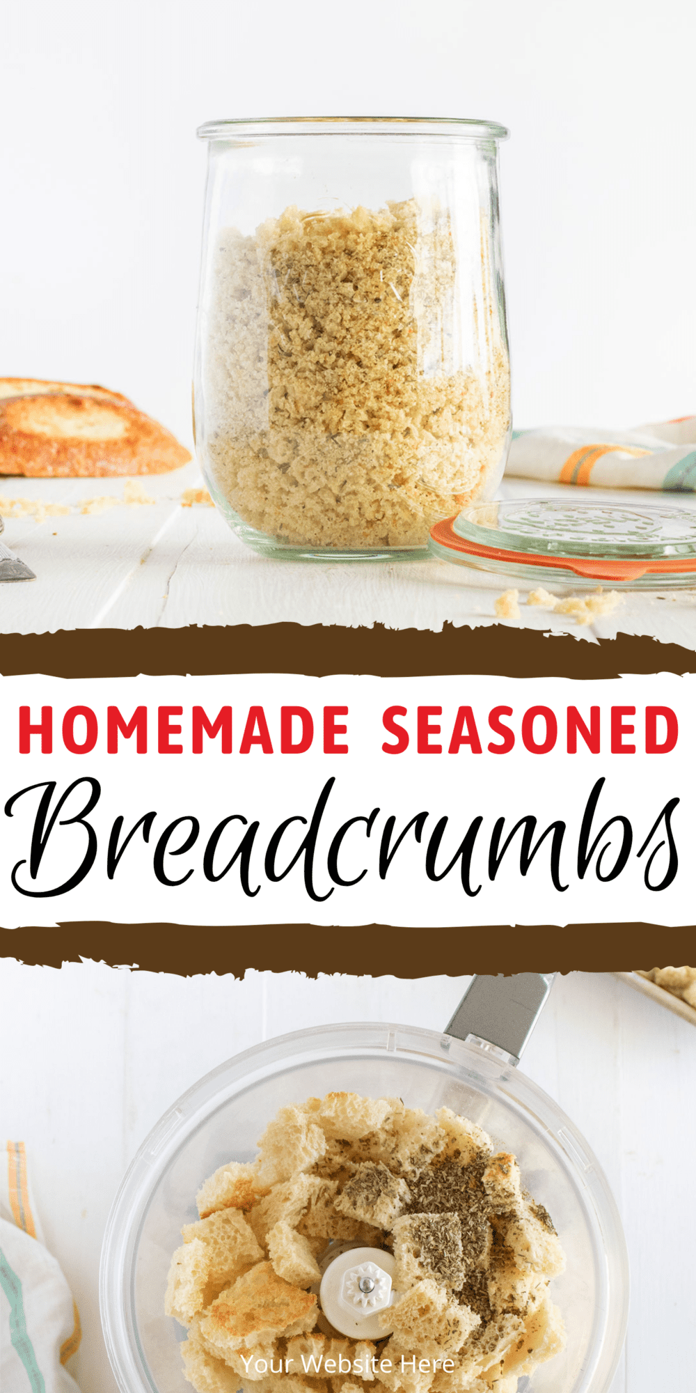 Quick and easy homemade breadcrumbs. You can keep them plain or you can use seasonings to jazz up any recipe!