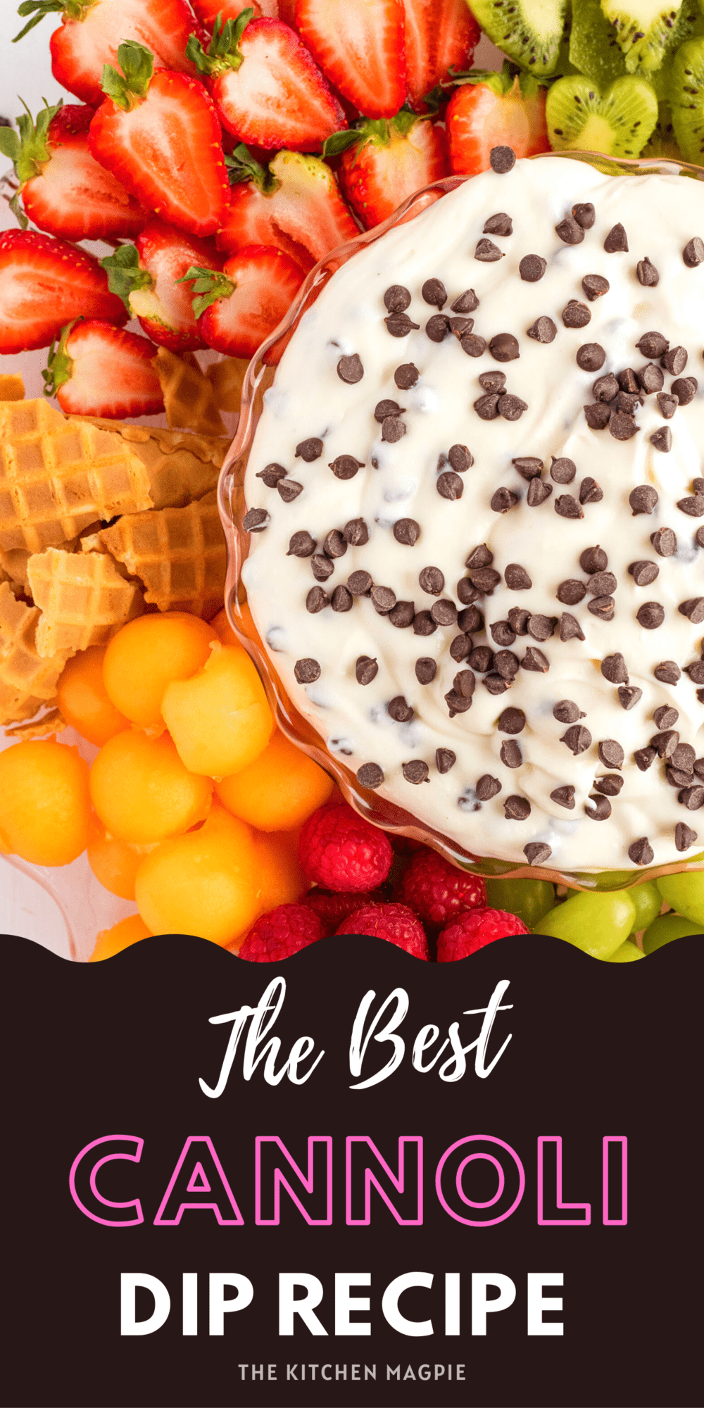 This sweet and creamy cannoli dip has ricotta and cream cheese (or mascarpone) and is perfect for a fruit dip, sweet crackers, waffles cones and more!