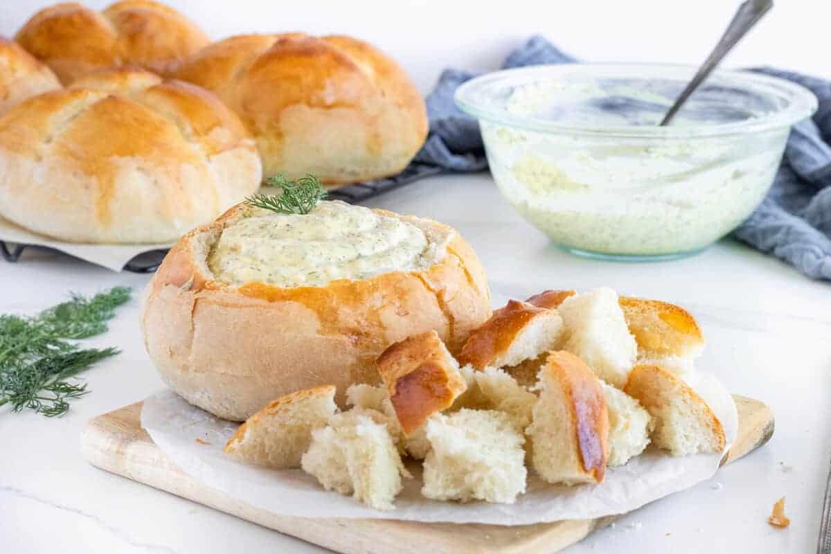 dill dip in a bread bowl