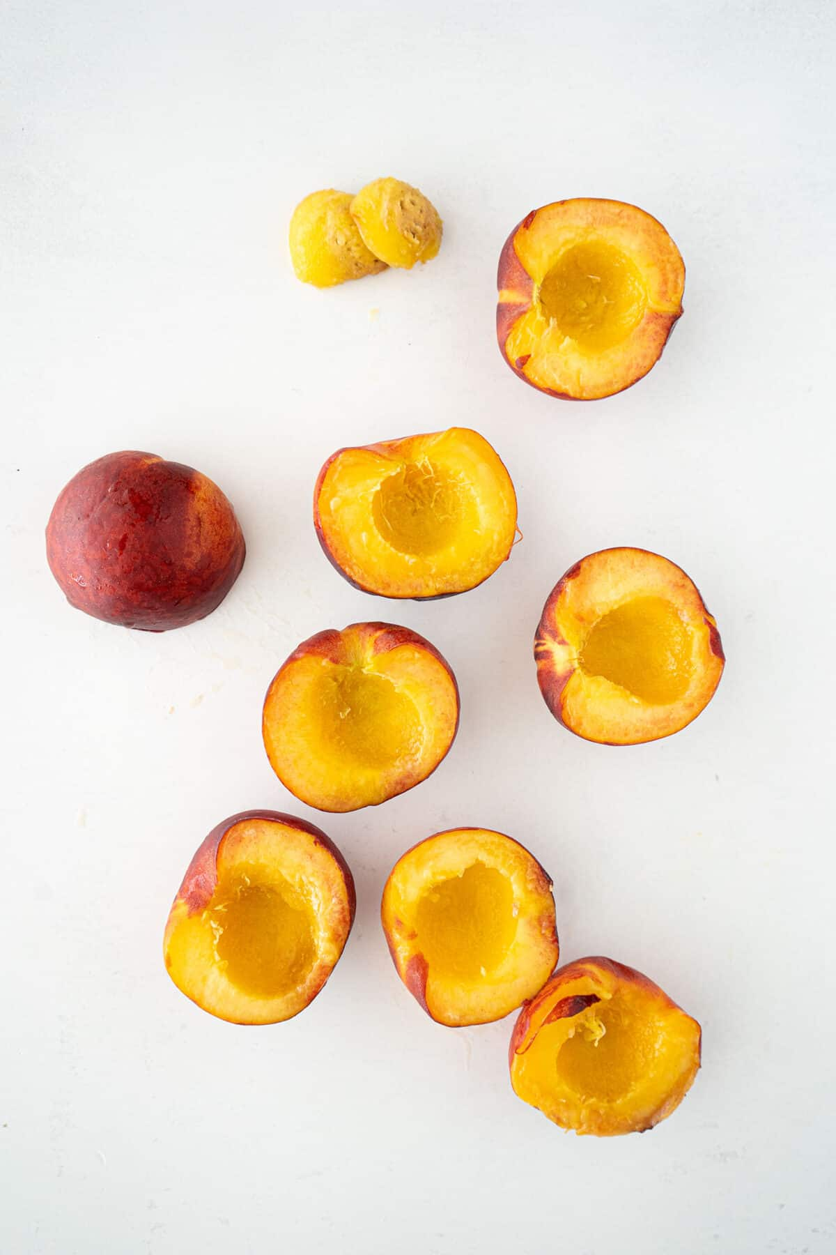 pitted peaches sliced in half