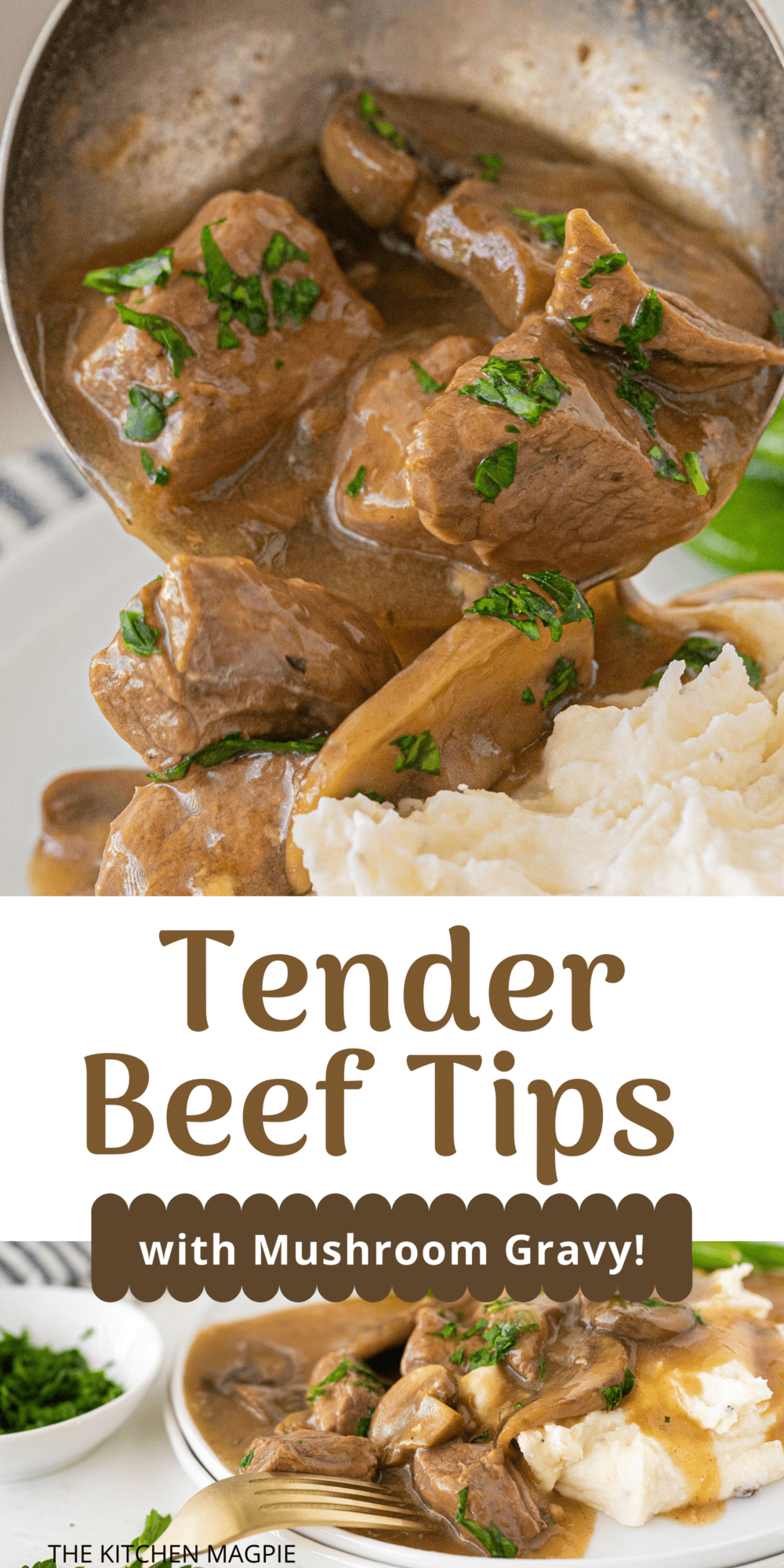 Decadent beef tips and gravy loaded with mushrooms and delicious flavor is served over mashed potatoes for the perfect meal the whole family will love.