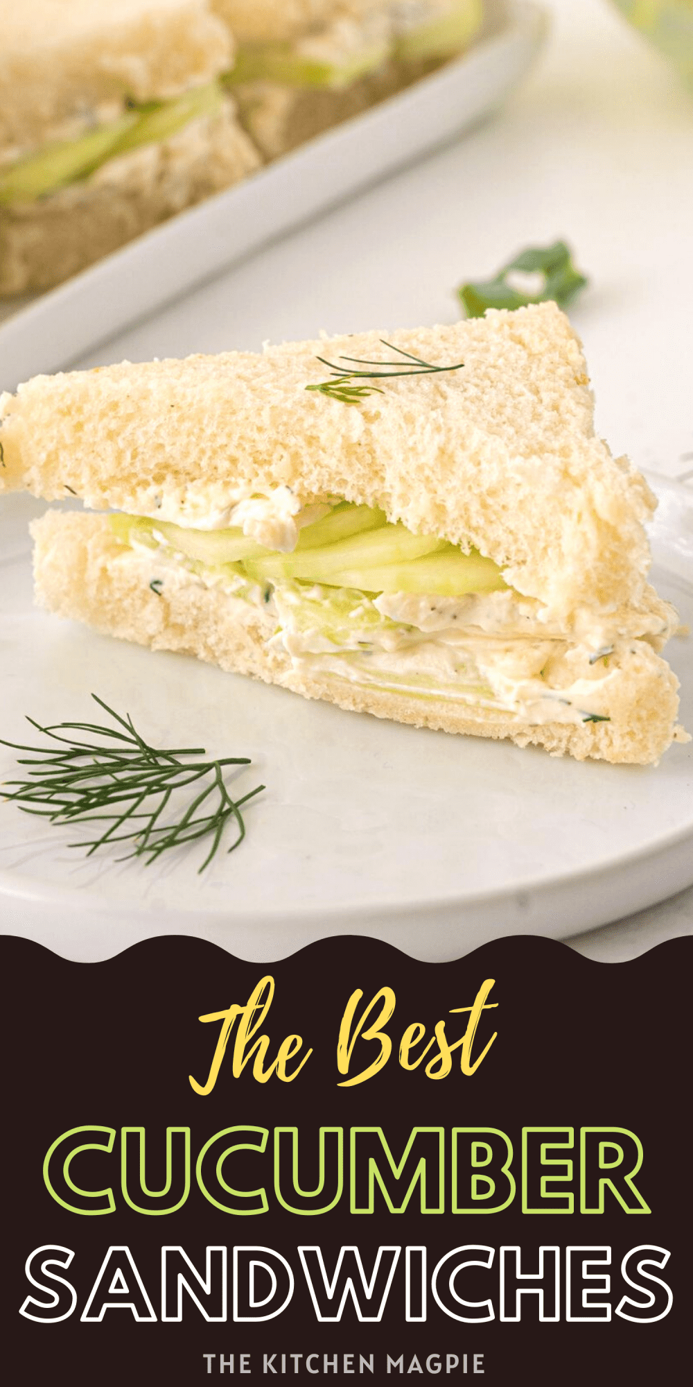 These cucumber sandwiches are perfect for a hot summer's day, or a tea party any time of the year! Fresh sliced cucumbers and a herb and garlic cream cheese filling are sandwiched between crustless white bread for the perfect snack or light lunch!