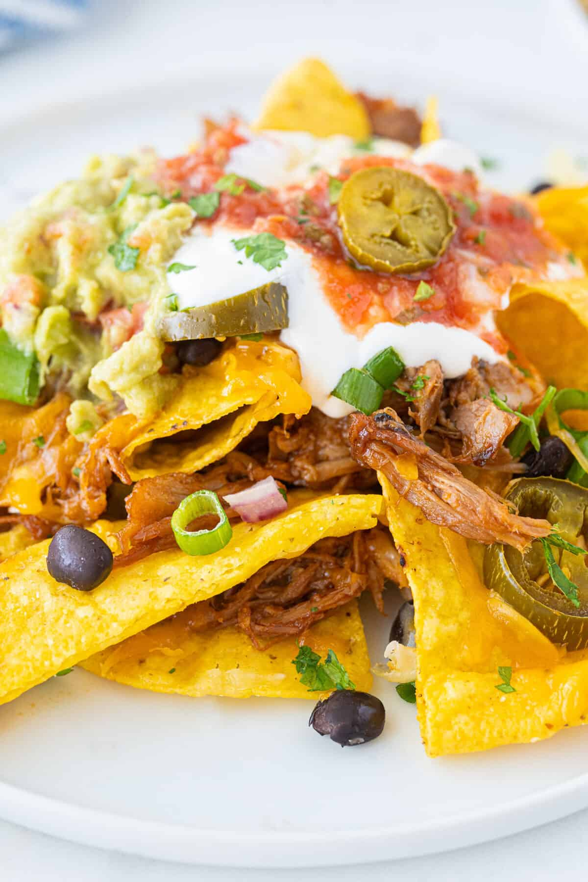a pile of pulled pork nachos on a plate