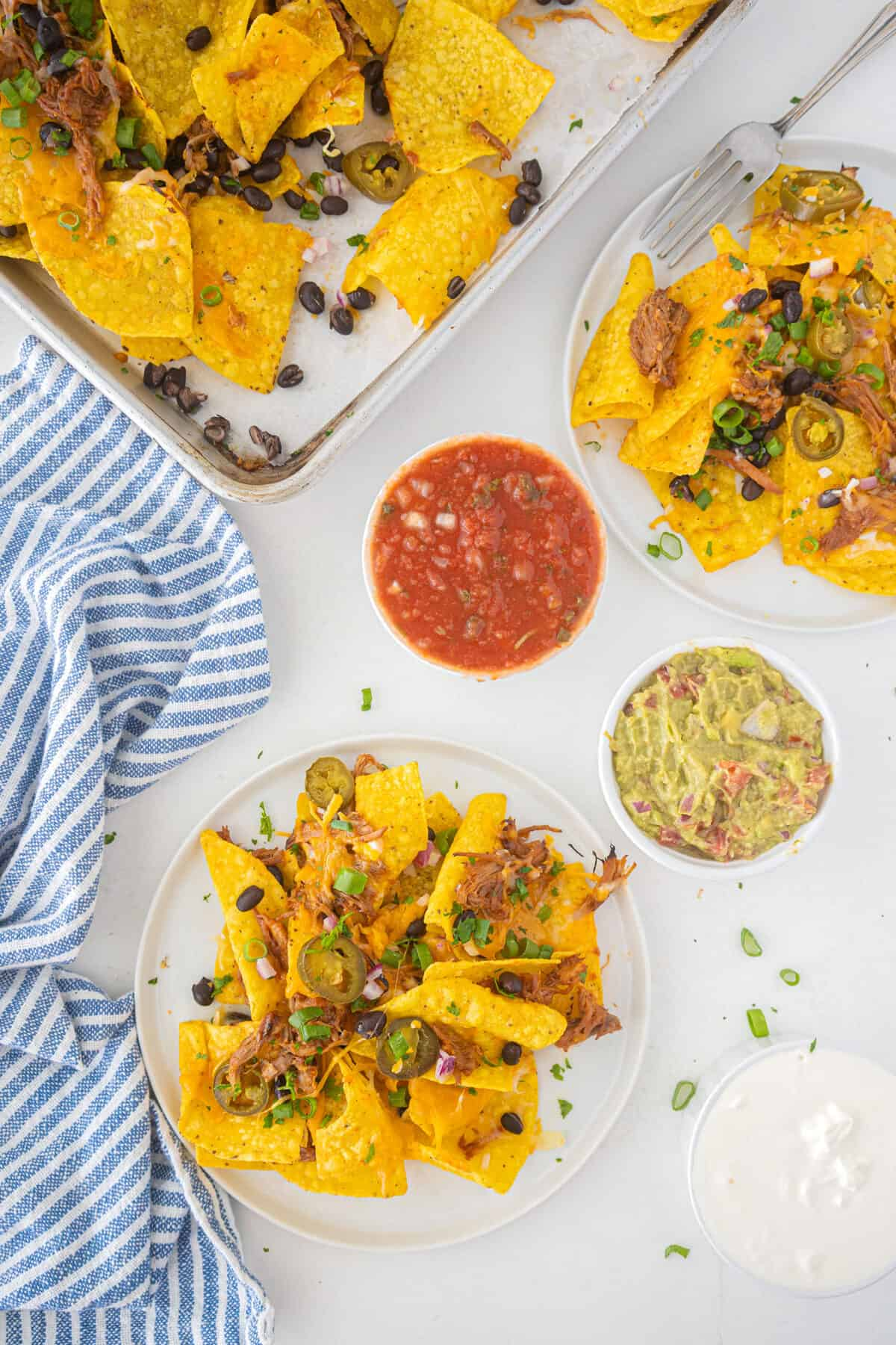 pork nachos on a white plate with salsa and guacamole