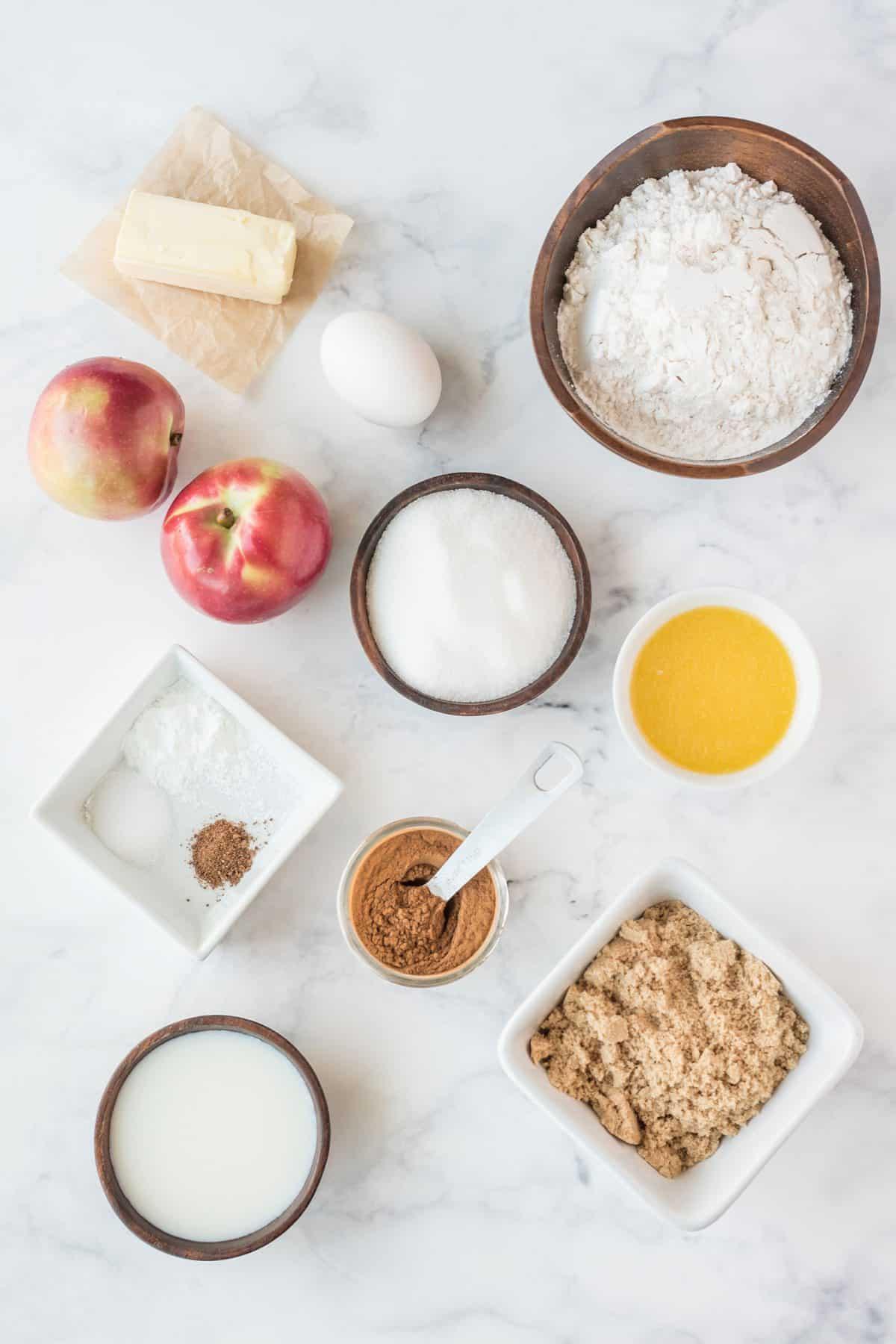 ingredients for apple cinnamon muffins