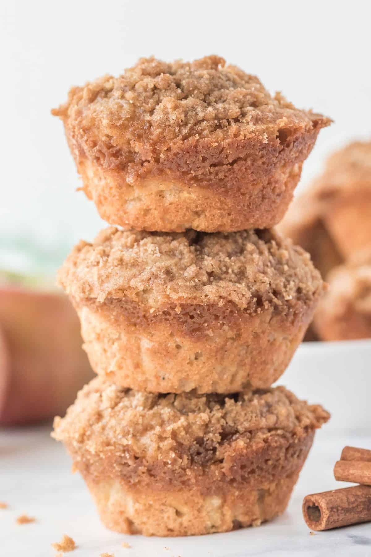 stack of three apple cinnamon muffins