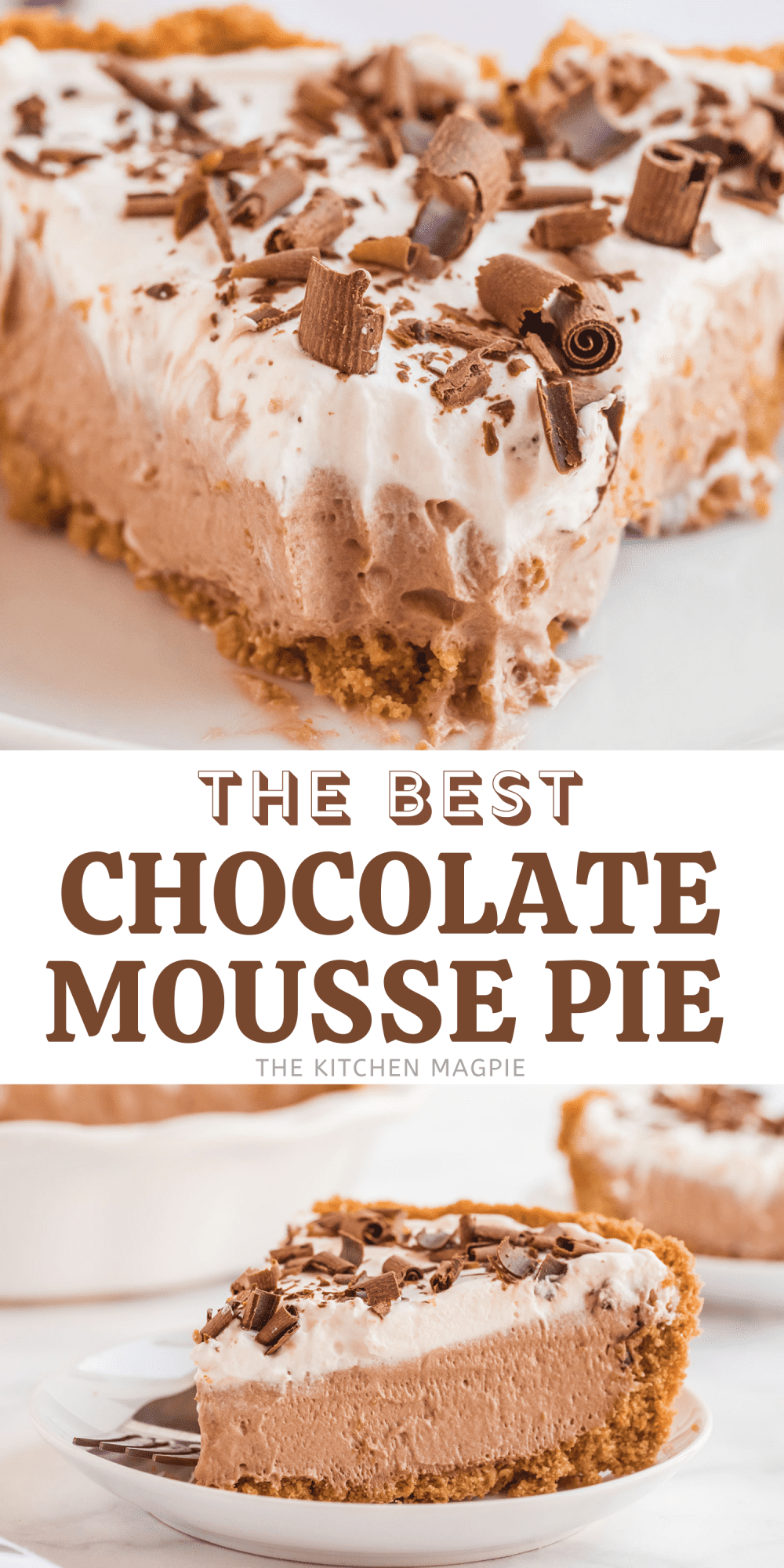 Rich, creamy and decadent chocolate mousse pie, made using any sweet chocolate that you have hanging around your house!