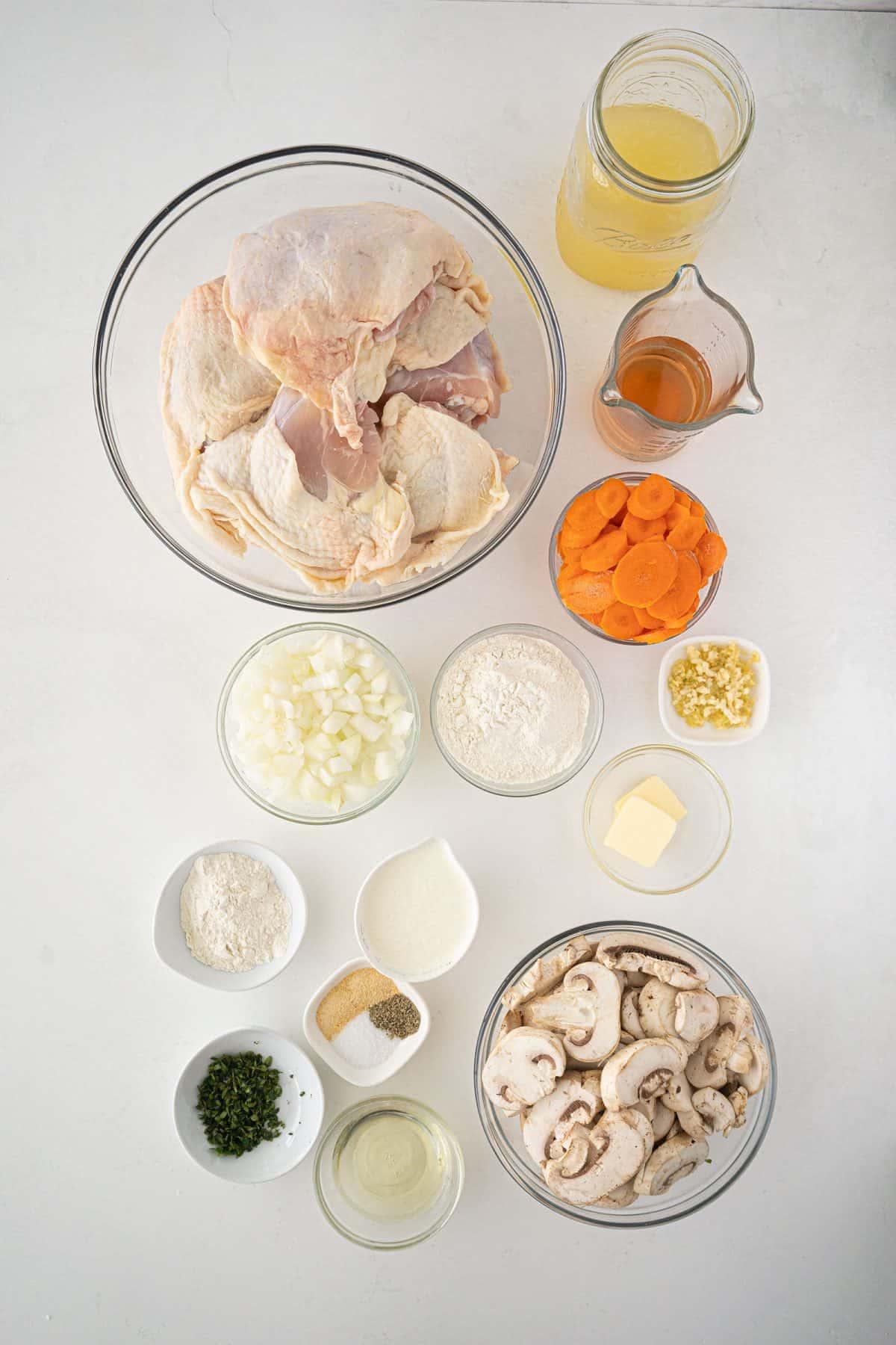 ingredients for Chicken Fricassee