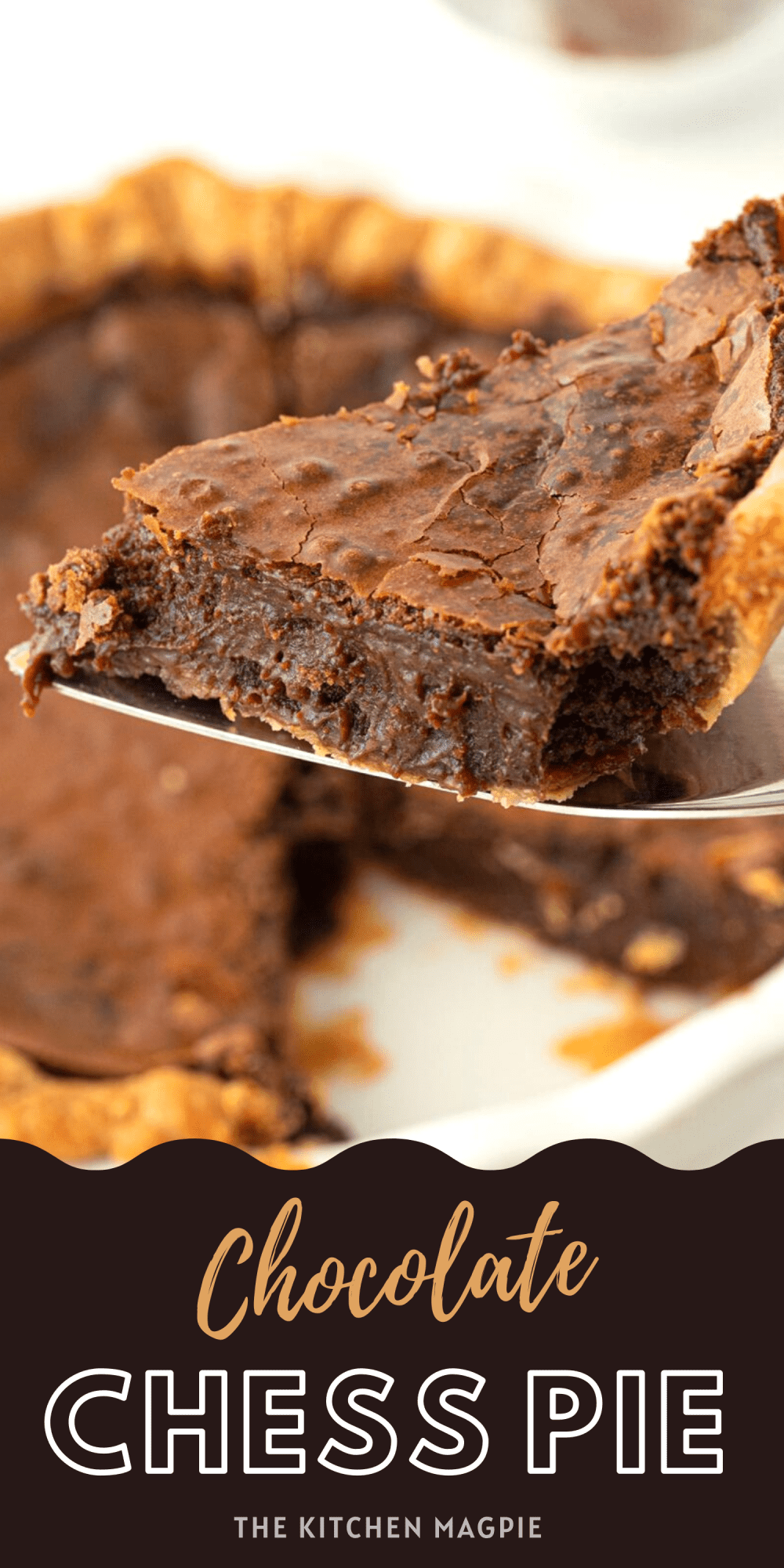 This buttery, chocolate chess pie tastes like a crackle topped brownie that's baked into a crunchy pie shell!