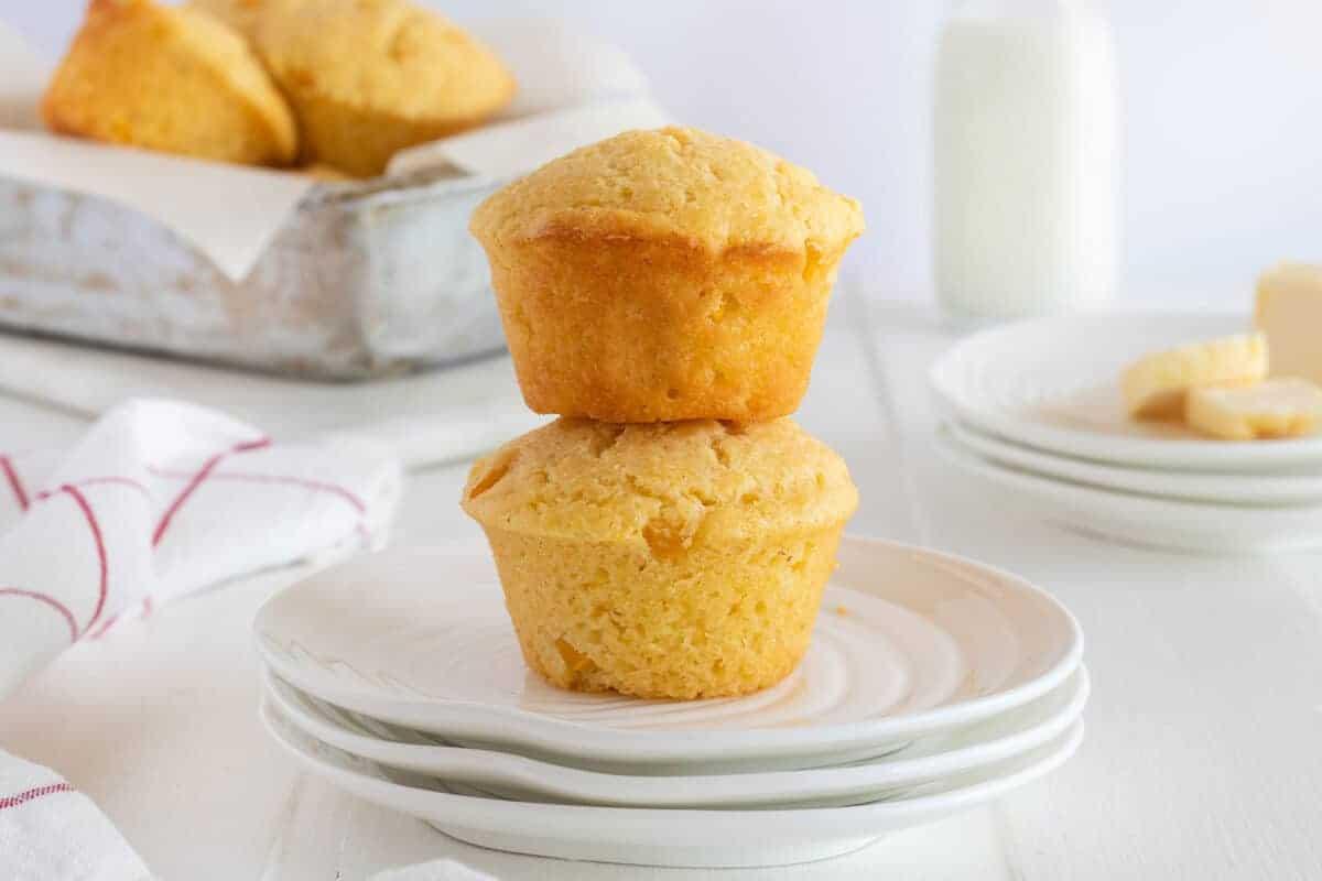 cornbread muffins on a white plate
