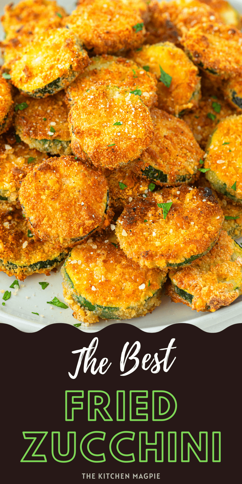 Zucchini slices are covered in a buttery, seasoned coating then fried to crispy perfection! Serve with your favorite dip or salad dressing!