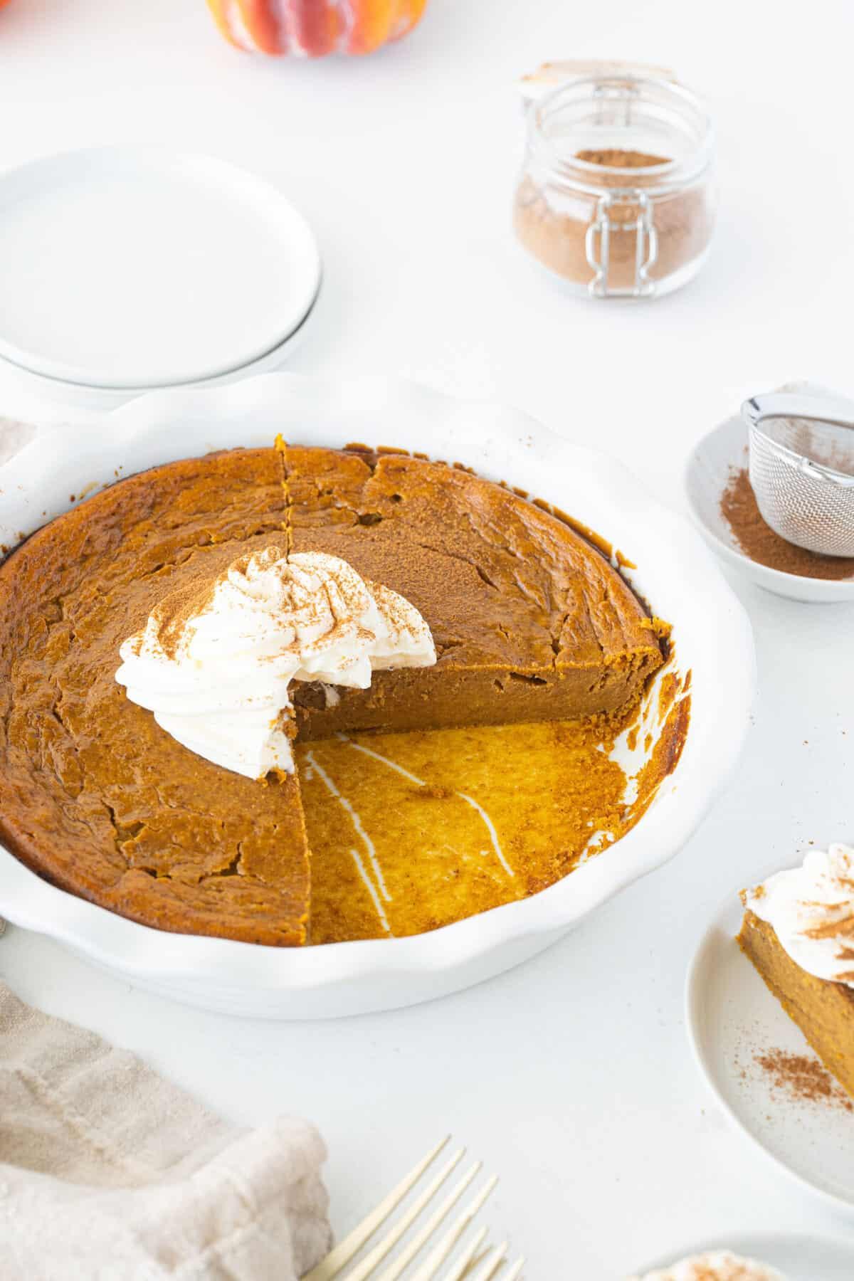 impossible pumpkin pie in a white pie plate
