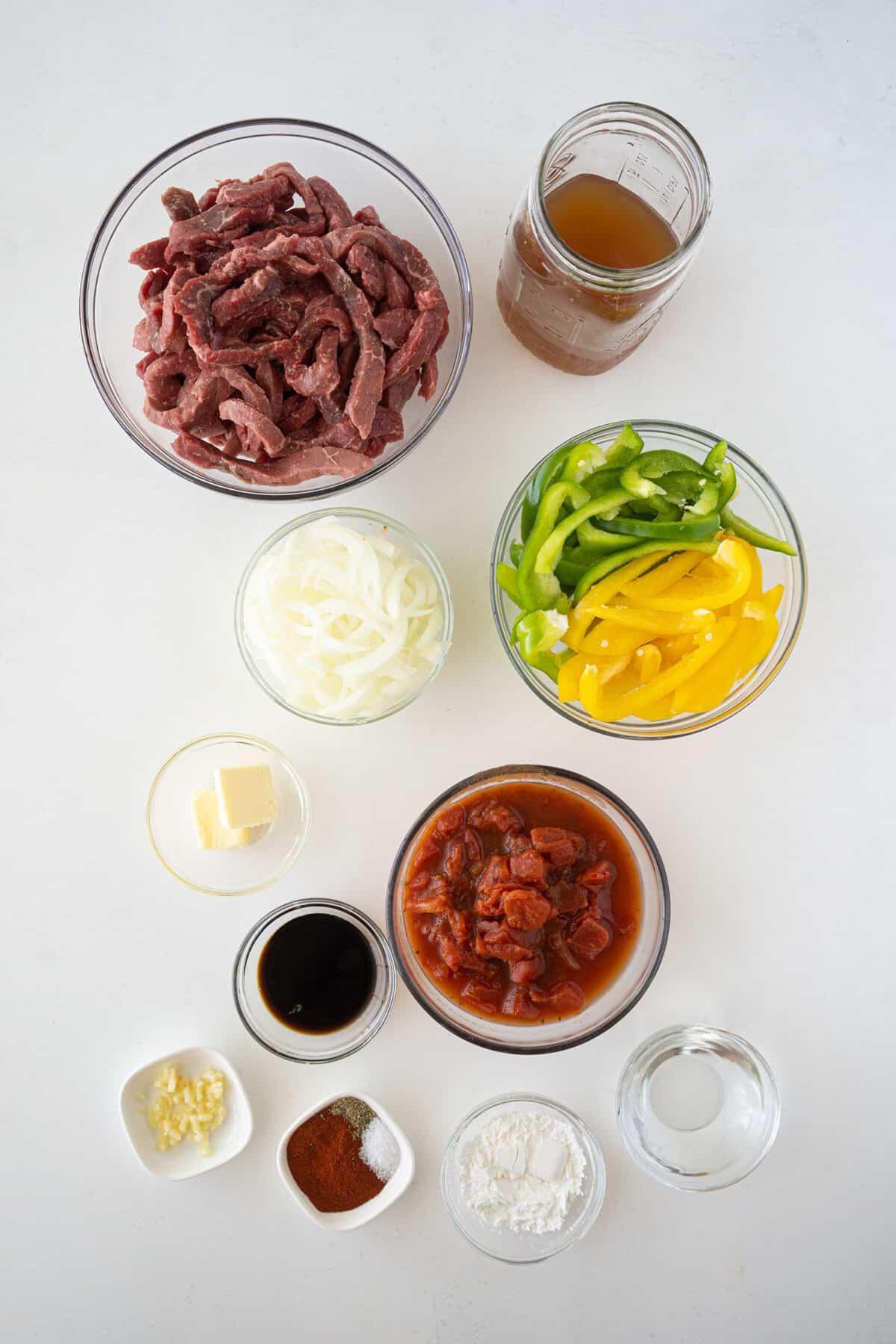 ingredients for pepper steak