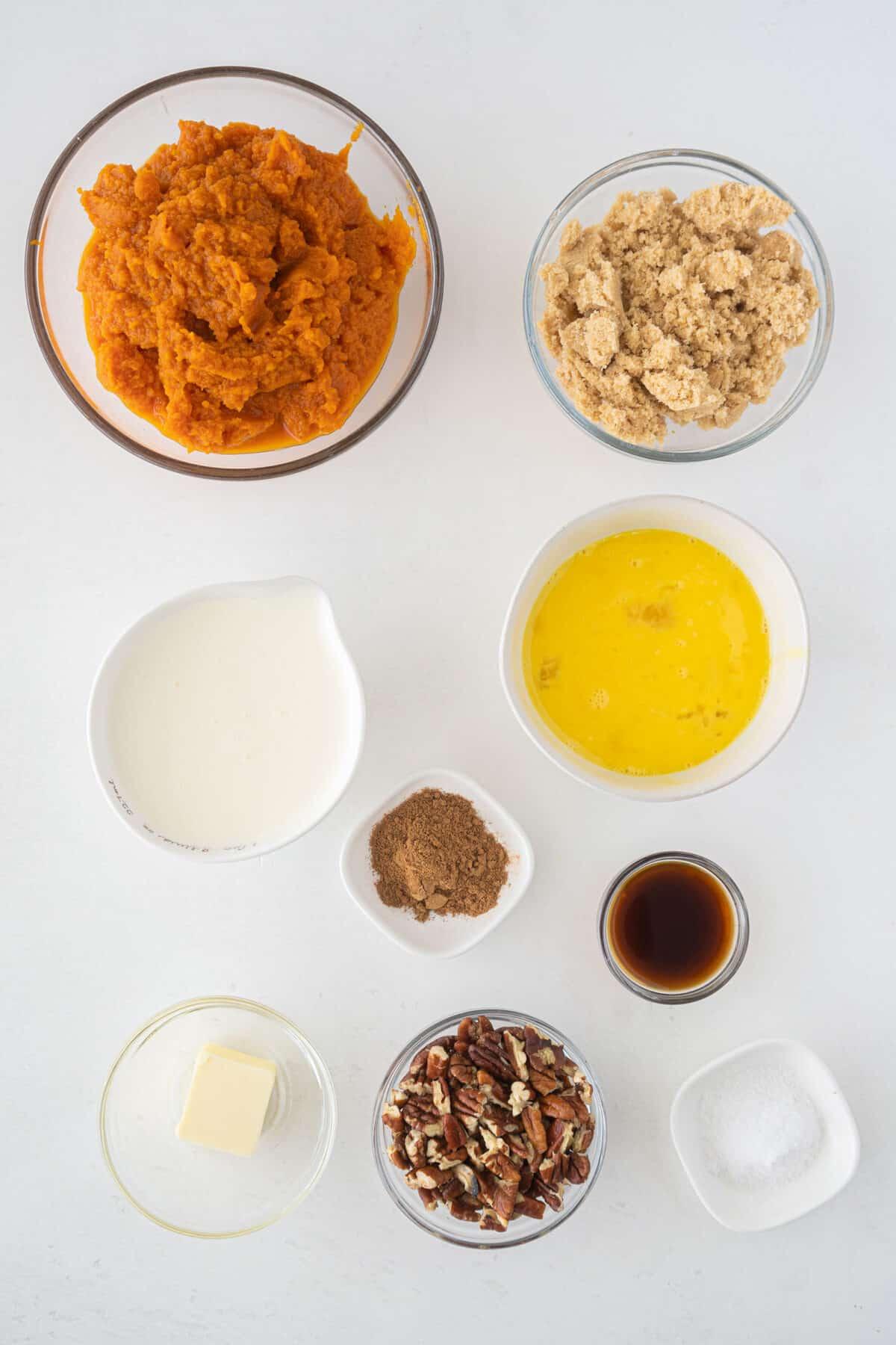 ingredients for pumpkin custard