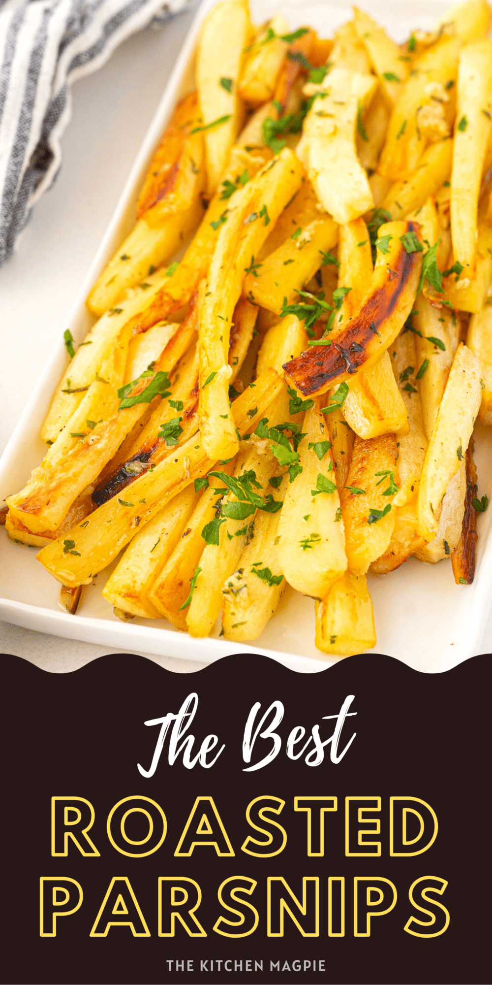 Delicious roasted parsnips with a decadent herb and garlic butter sauce!